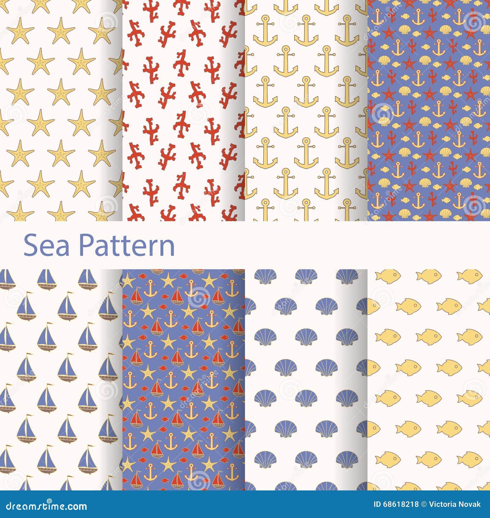 Ensemble de mer et mod les sans couture nautiques pour imprimer sur le tissu et le papier - Imprimer photo sur tissu ...
