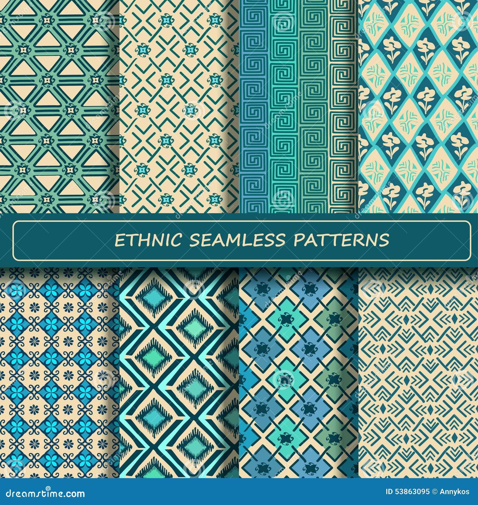 Ensemble de modèle sans couture géométrique ethnique abstrait blanc bleu