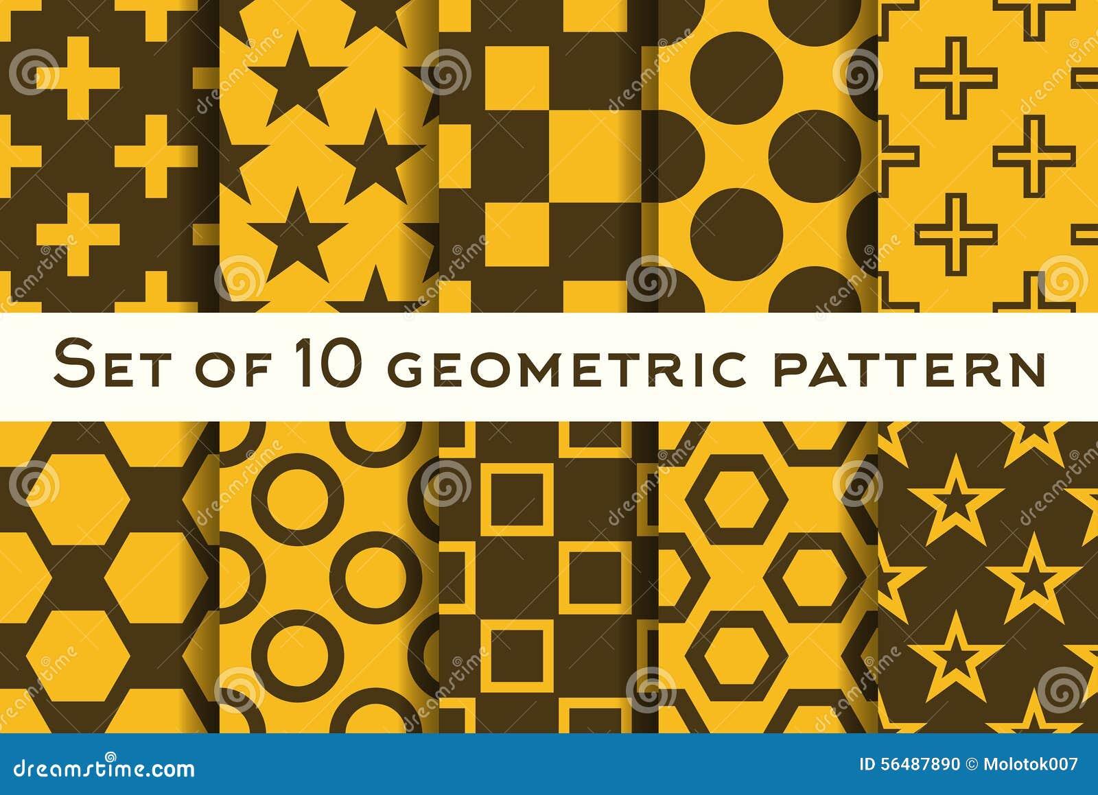 Ensemble de 10 modèles géométriques dans des couleurs oranges et brunes