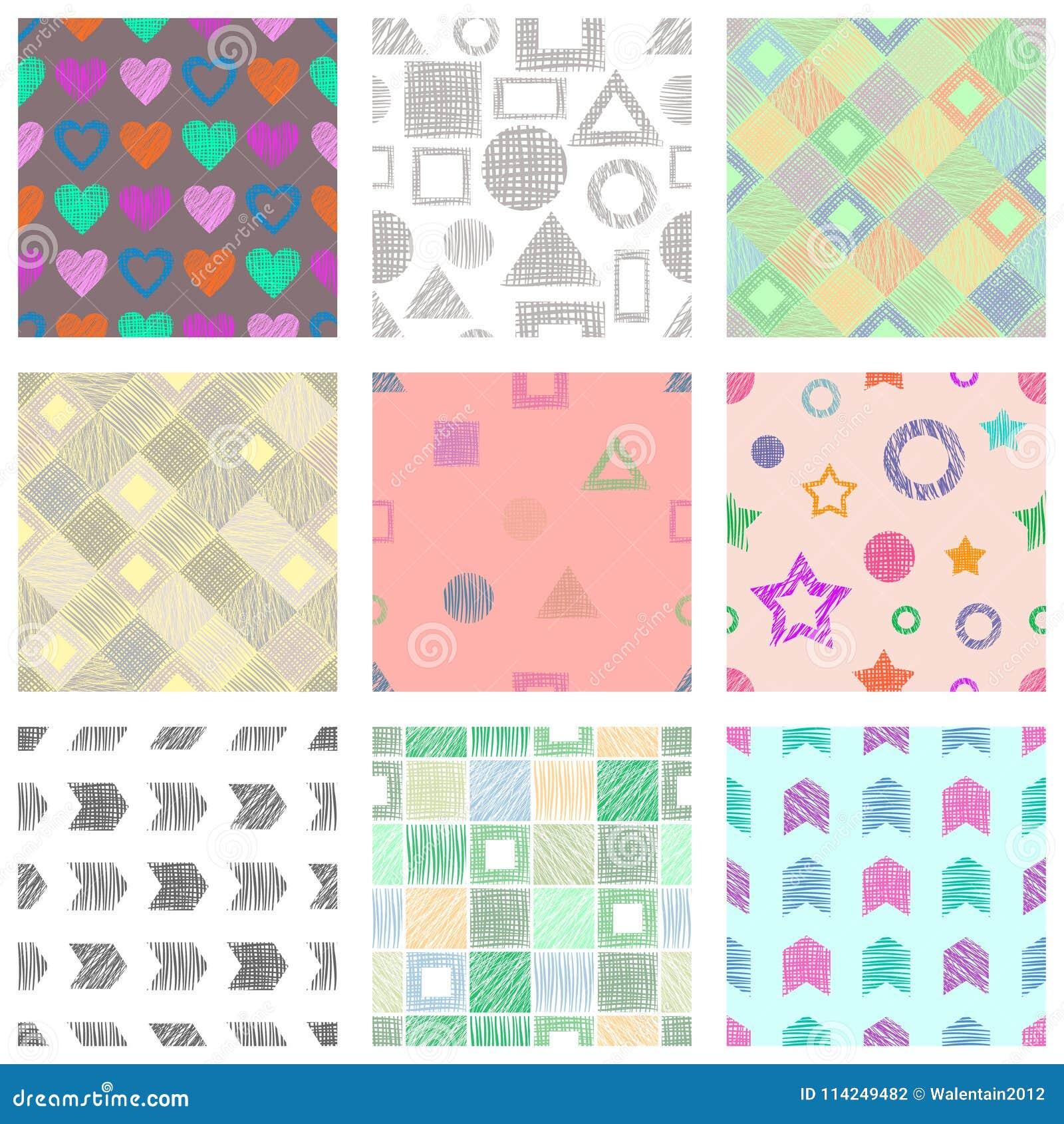 a9d26c4a7 Ensemble de modèles géométriques de vecteur sans couture avec différents  chiffres géométriques