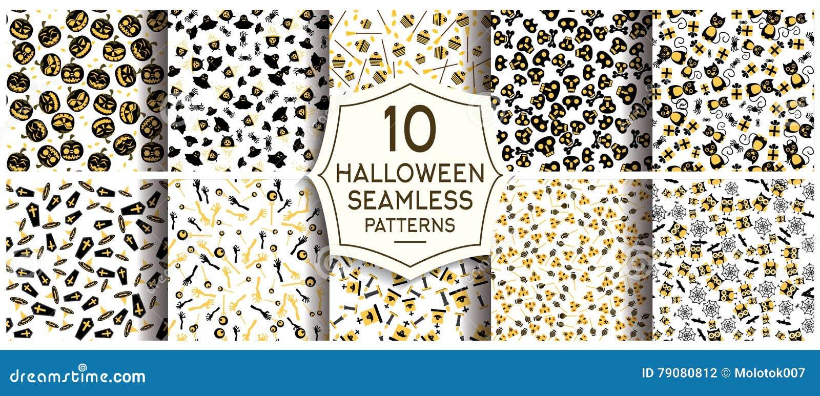 Ensemble de 10 modèles sans couture de Halloween