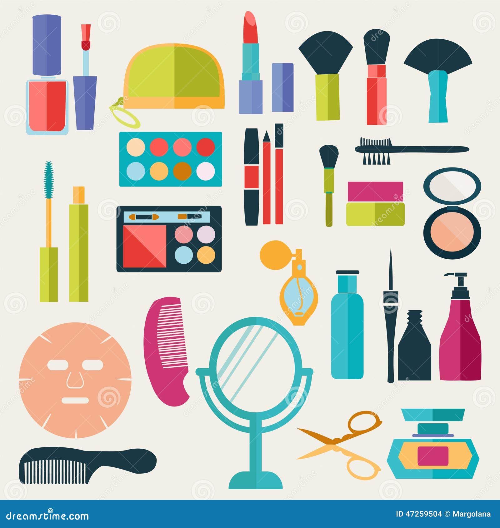 Ensemble de mod le illustration d 39 l ments de maquillage et de beaut illustration de vecteur - Modele de maquillage ...