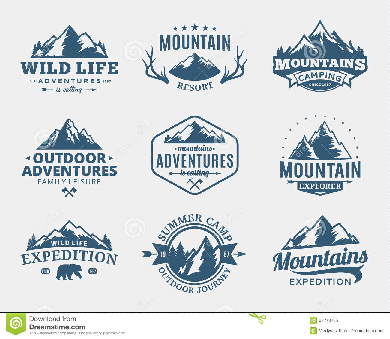 Ensemble de montagne de vecteur et de logo extérieur d aventures