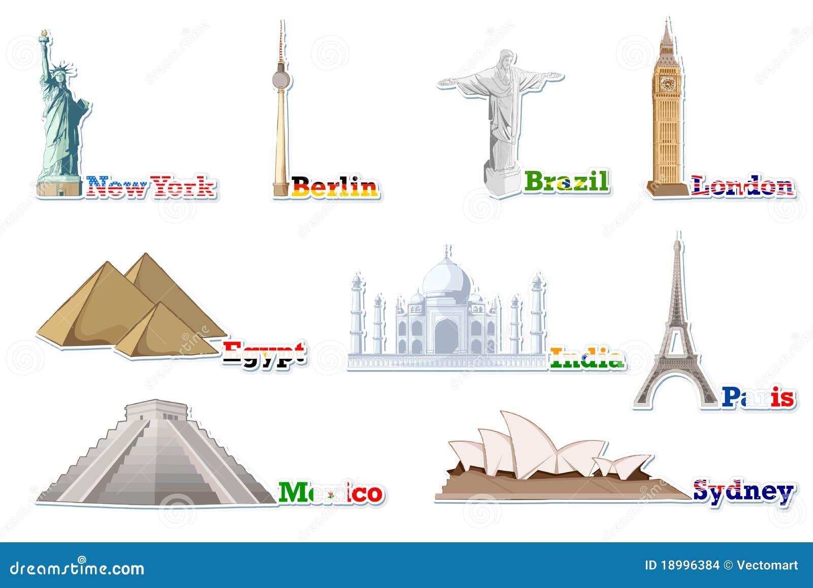 Ensemble de monument c l bre autour du monde illustration for Les monuments les plus connus du monde