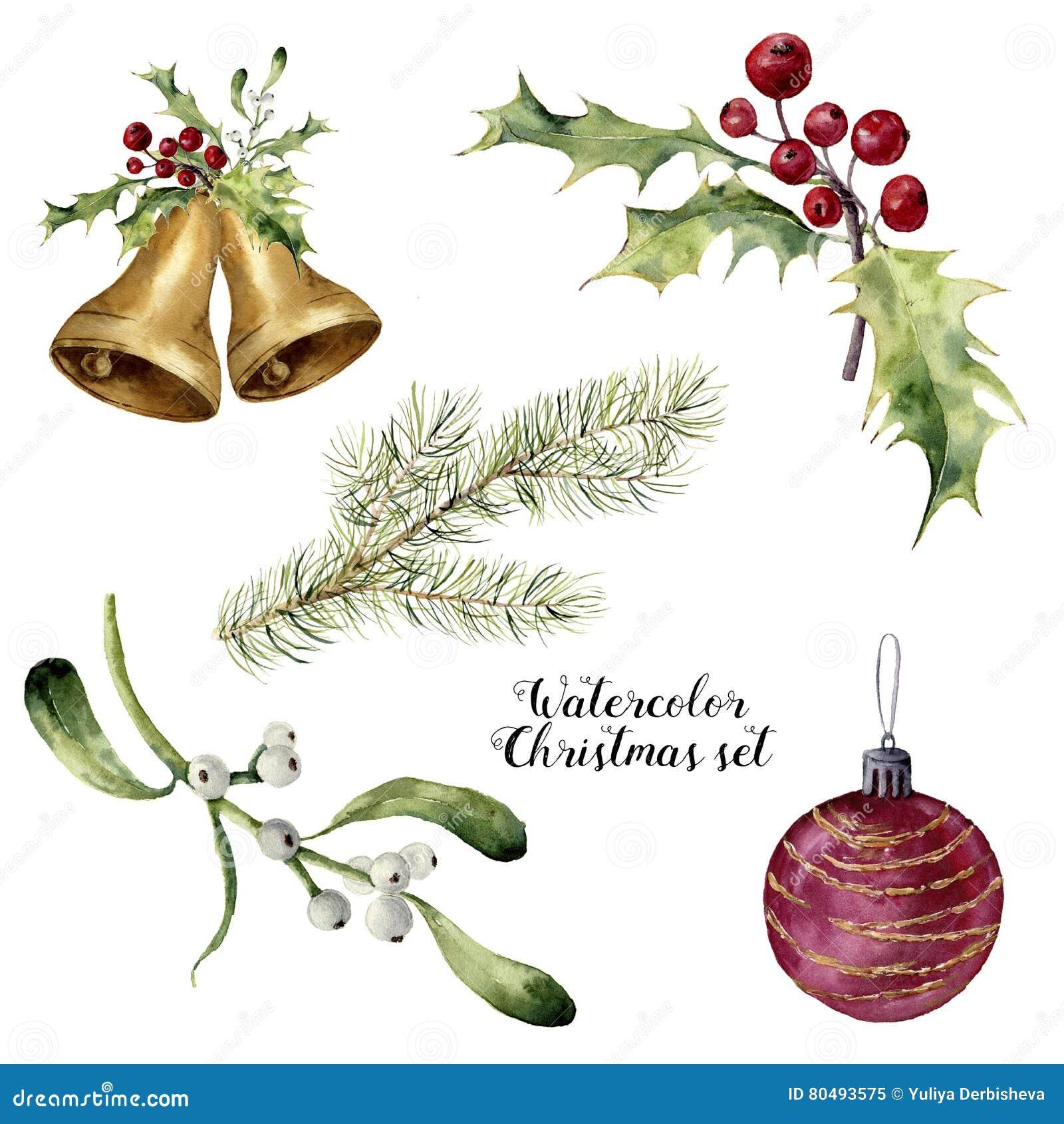 Ensemble de Noël d aquarelle Collection peinte à la main avec les cloches, le gui, le houx, la branche de sapin et la boule de No