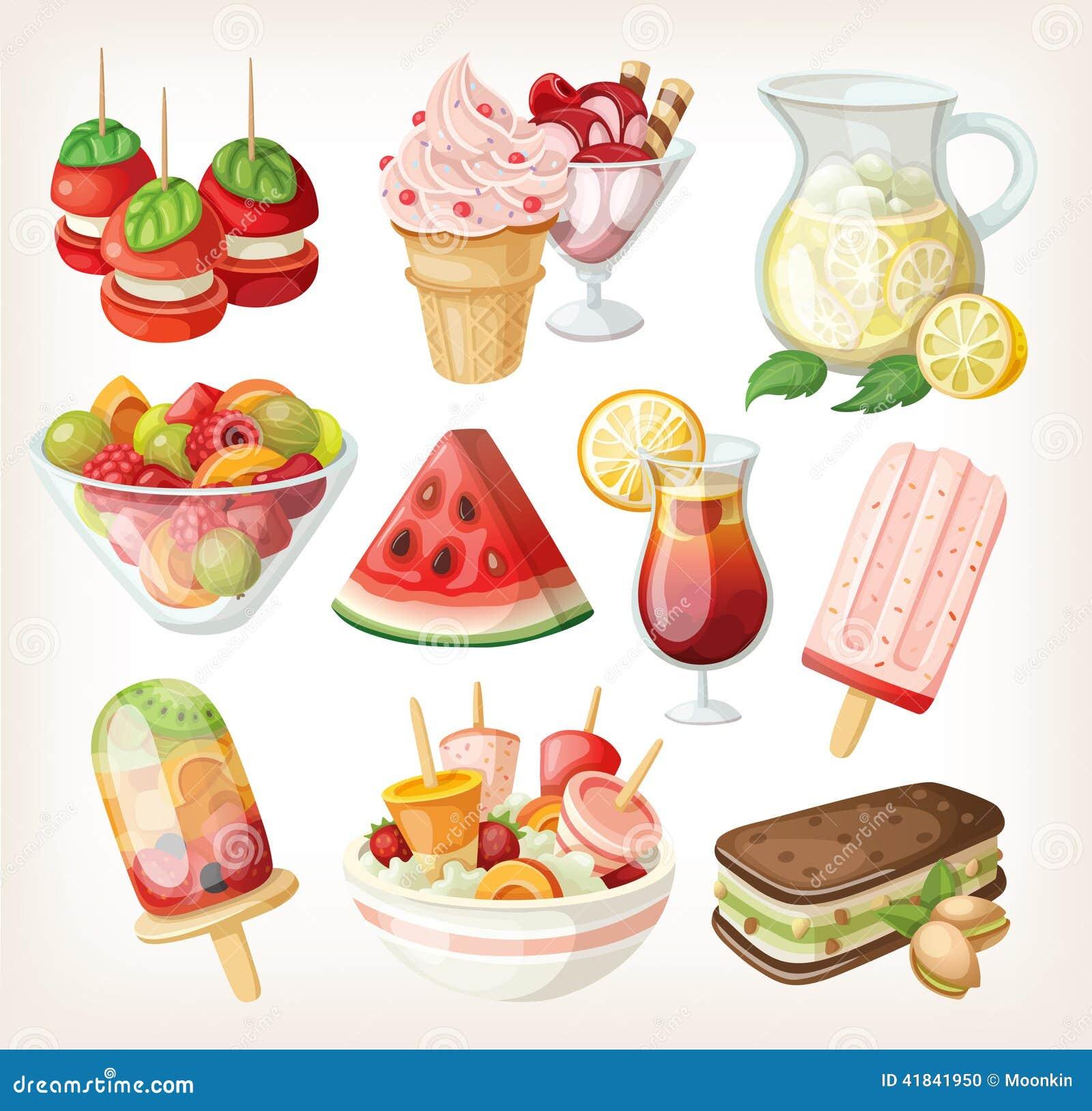 Ensemble de nourriture douce froide d été