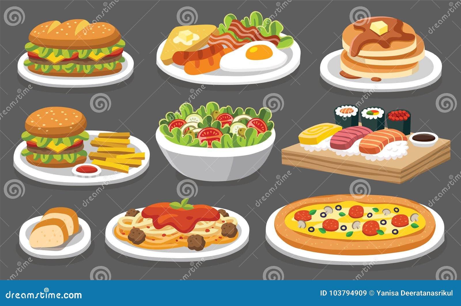 Ensemble de nourriture traditionnelle Laissez le ` s manger quelque chose délicieuse
