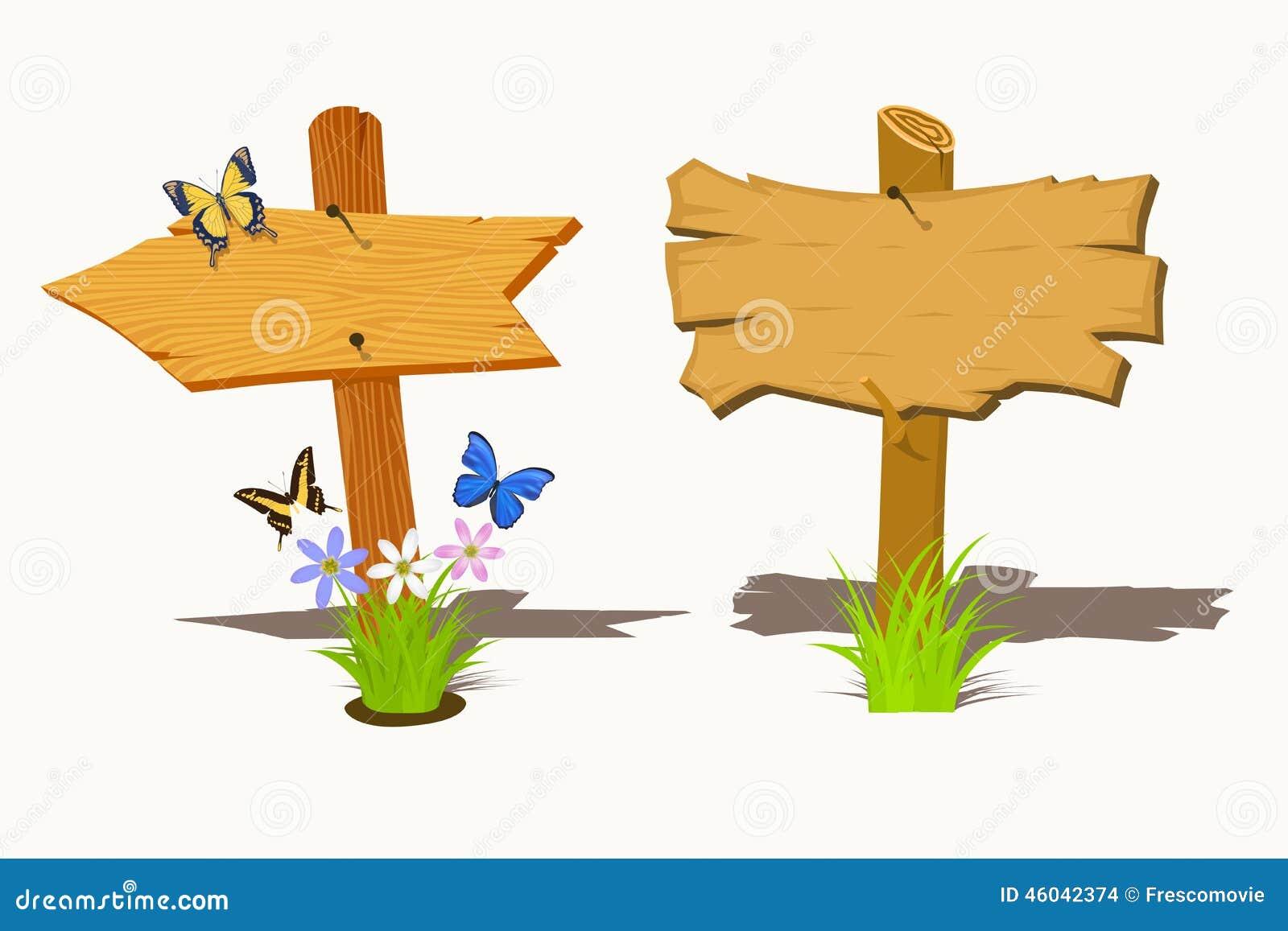Ensemble De Panneau Indicateur En Bois Illustration de Vecteur Image 46042374 # Panneau Directionnel Bois