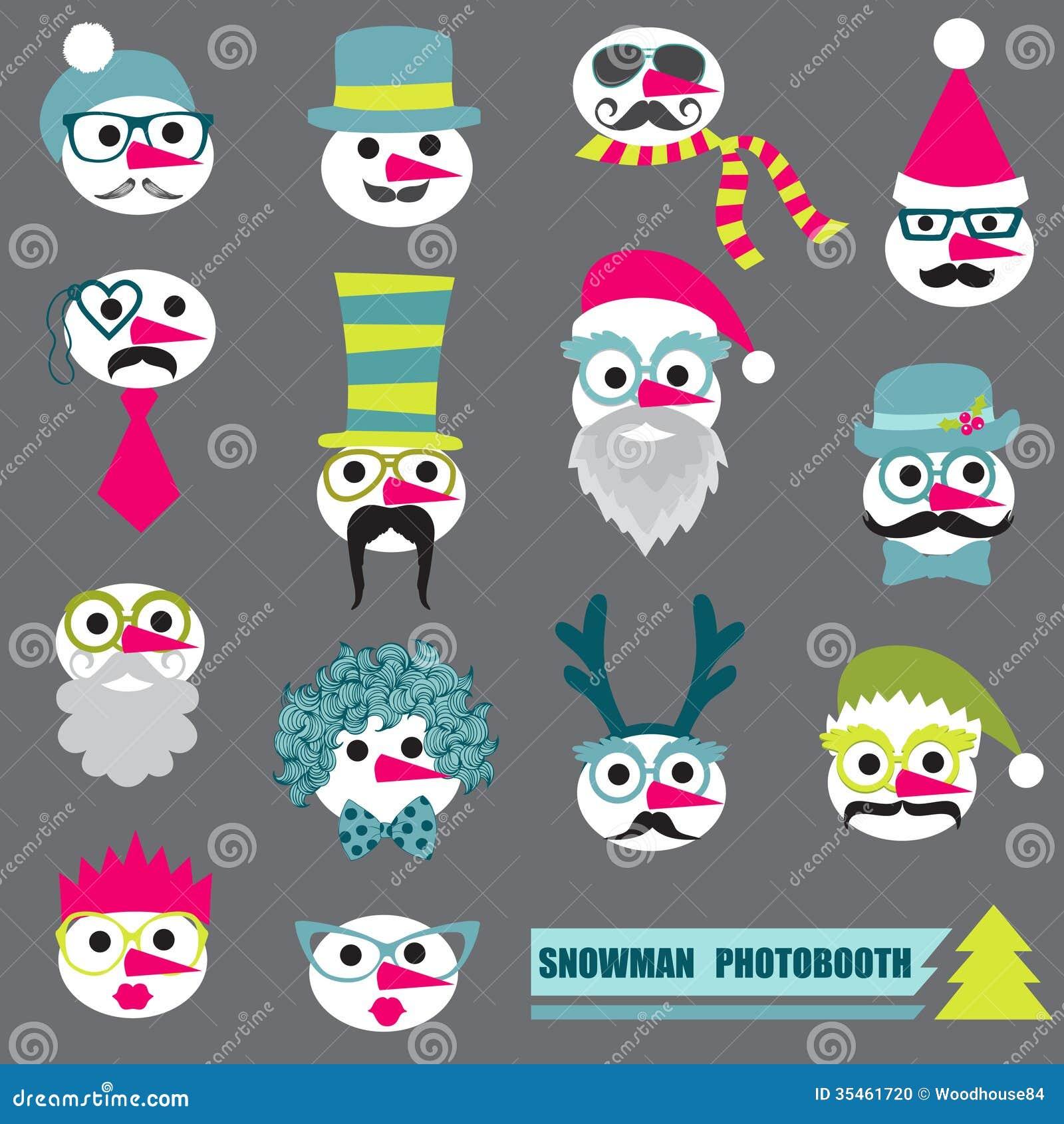 Ensemble de partie de bonhomme de neige de Photobooth