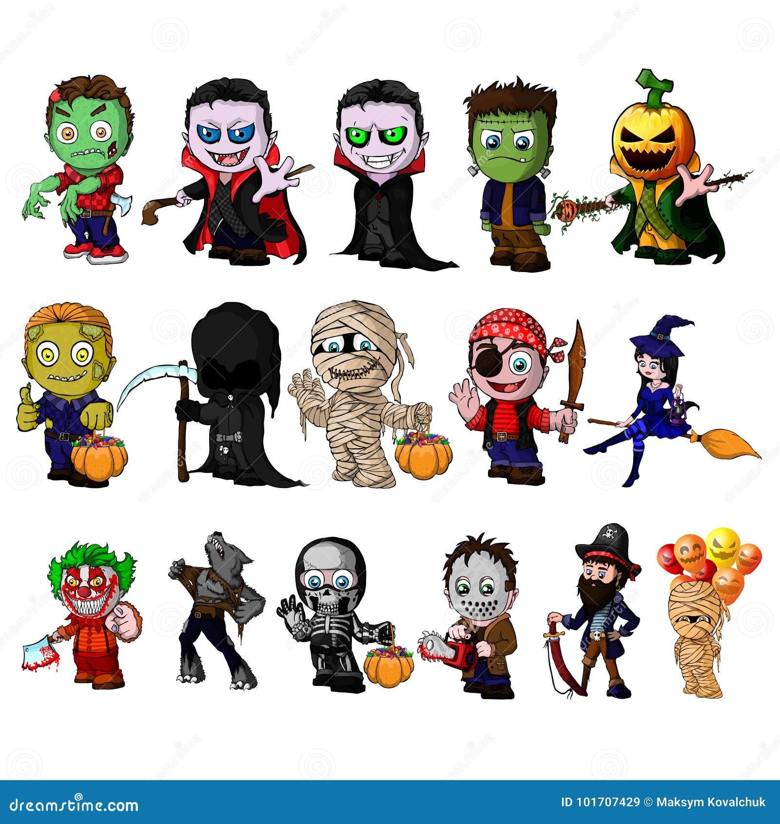 Ensemble De Personnages De Dessin Animé Pour Halloween