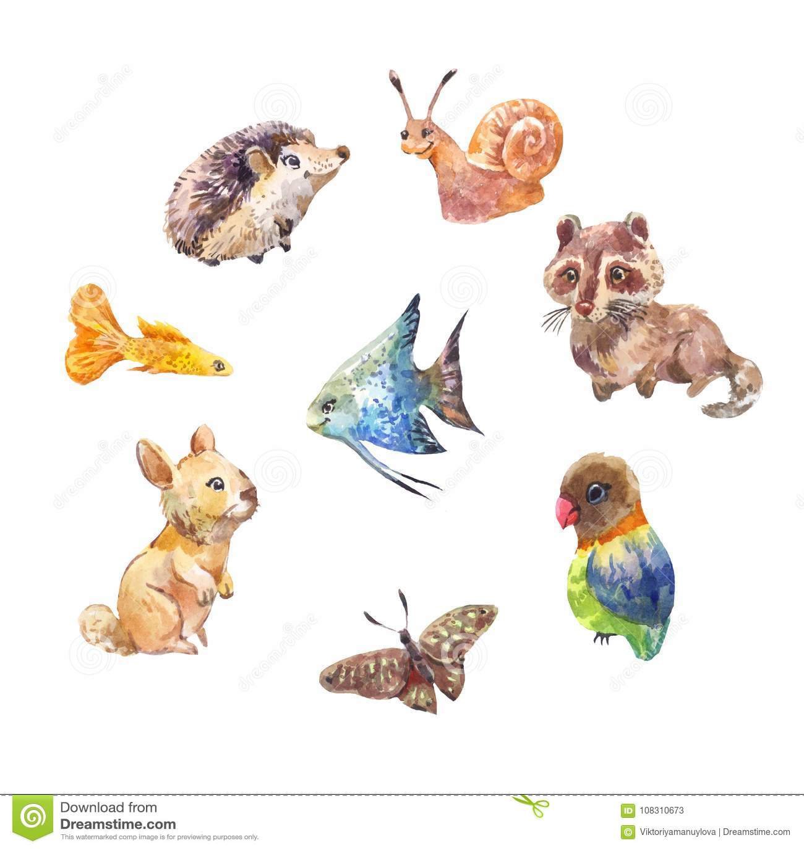Ensemble de petits animaux sauvages mignons dessins d - Dessins d animaux sauvages ...