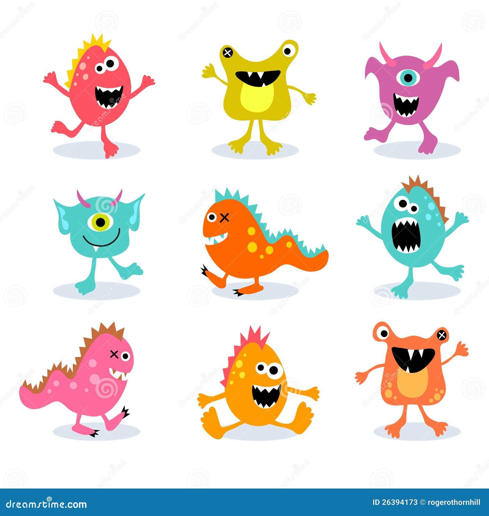 Ensemble de petits monstres mignons 2 illustration de vecteur illustration du diable - Dessins monstres ...