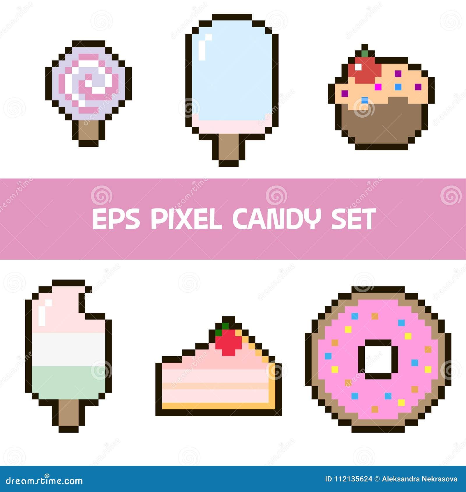 Ensemble De Pixel De Crème Glacée De Gâteau Et De Sucrerie