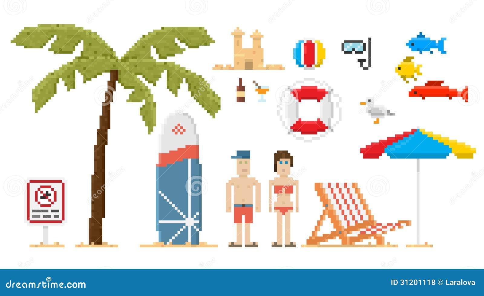 Ensemble de plage de style d art de pixel