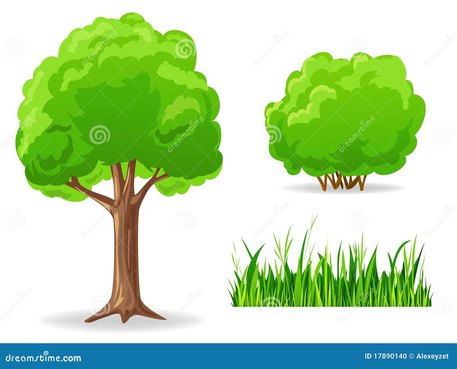ensemble de plantes vertes de dessin anim arbre buisson herbe photo stock image 17890140. Black Bedroom Furniture Sets. Home Design Ideas