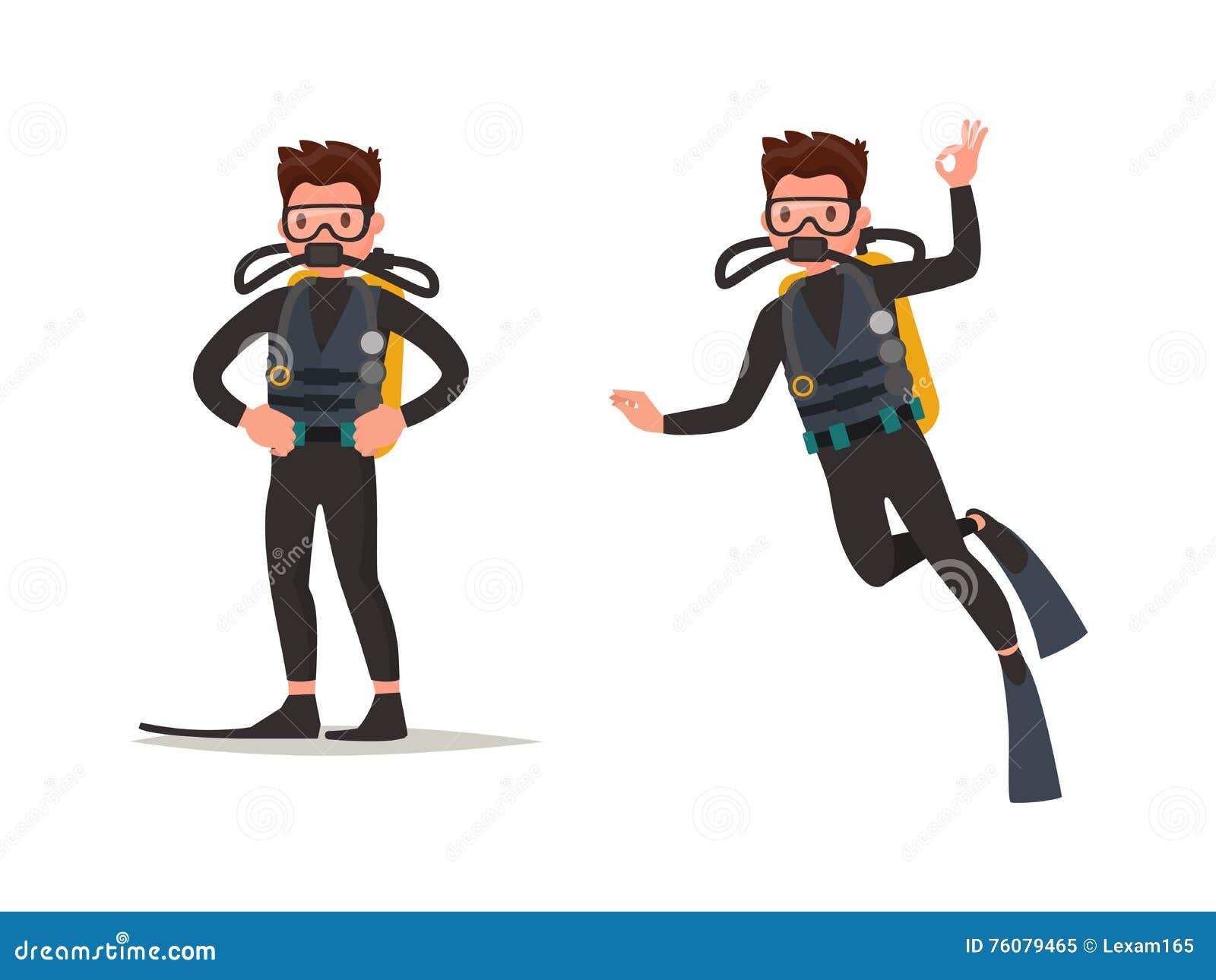 Ensemble de plongeur posant et sous l eau Illustration de vecteur