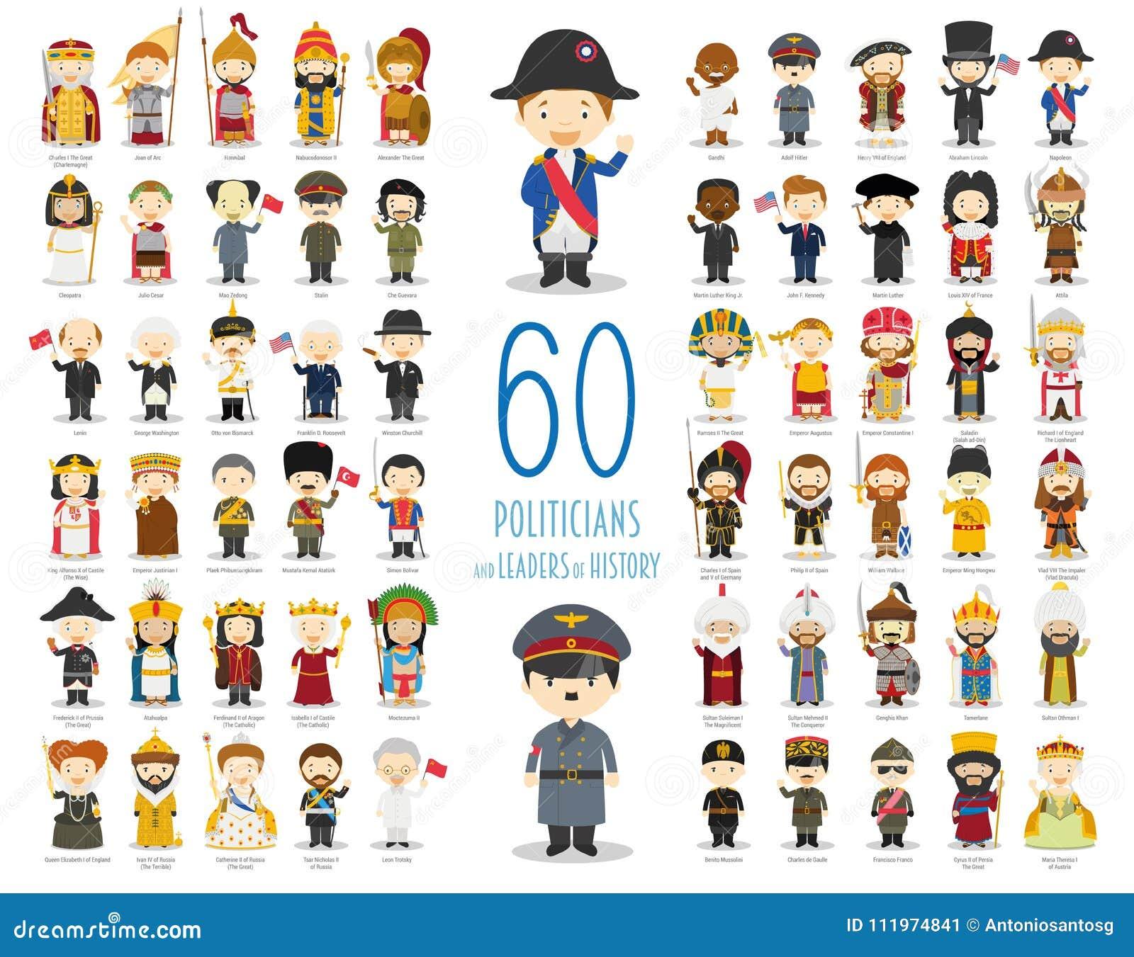 Ensemble de 60 politiciens et chefs appropriés de l histoire dans le style de bande dessinée