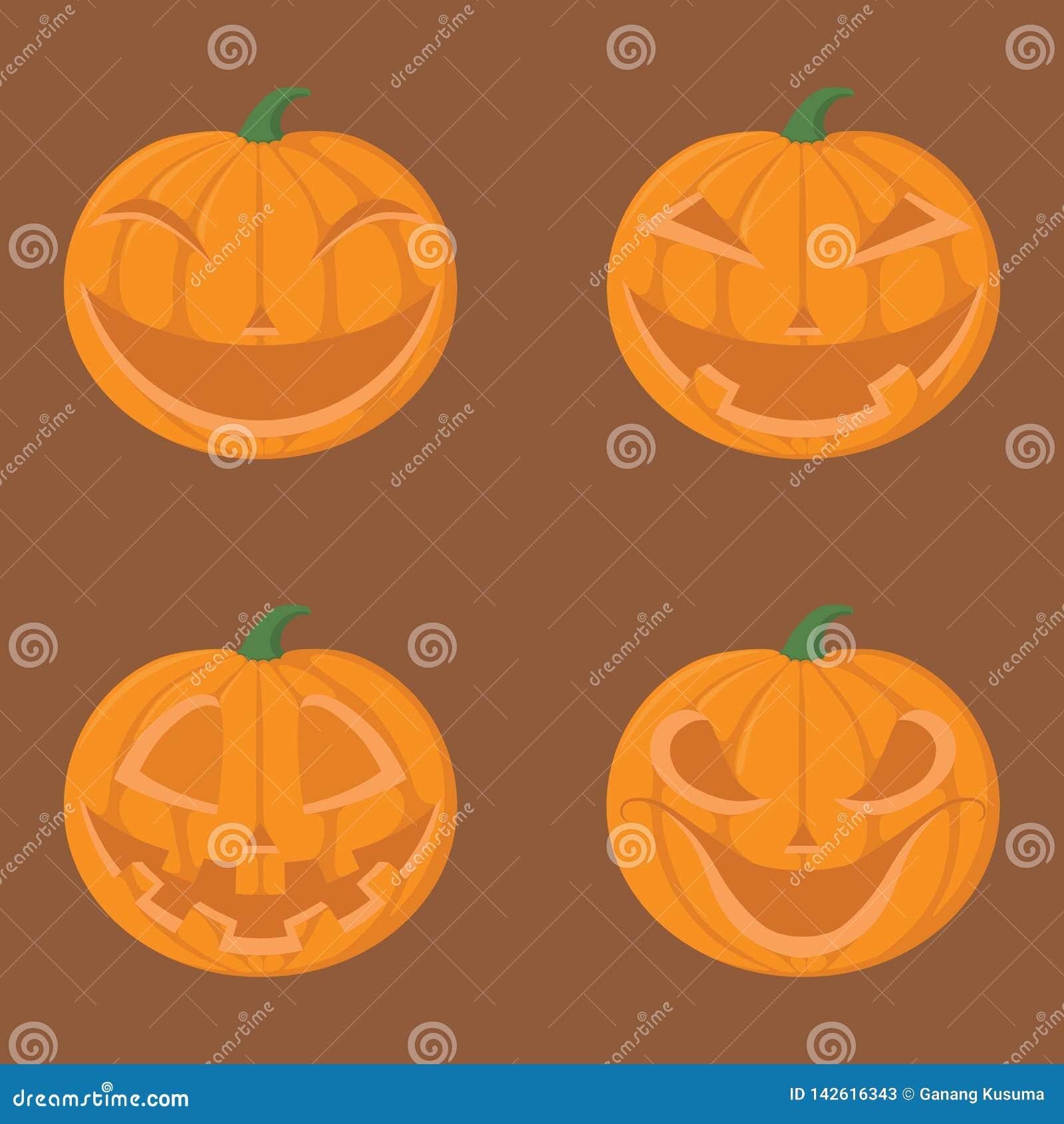 Ensemble de potiron chez Halloween avec émotion
