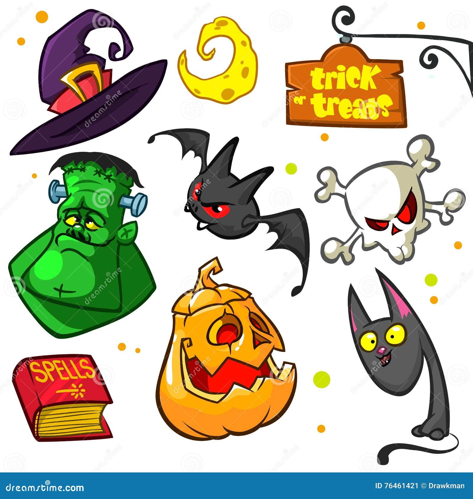 Ensemble de potiron de Halloween et d icônes d attributs