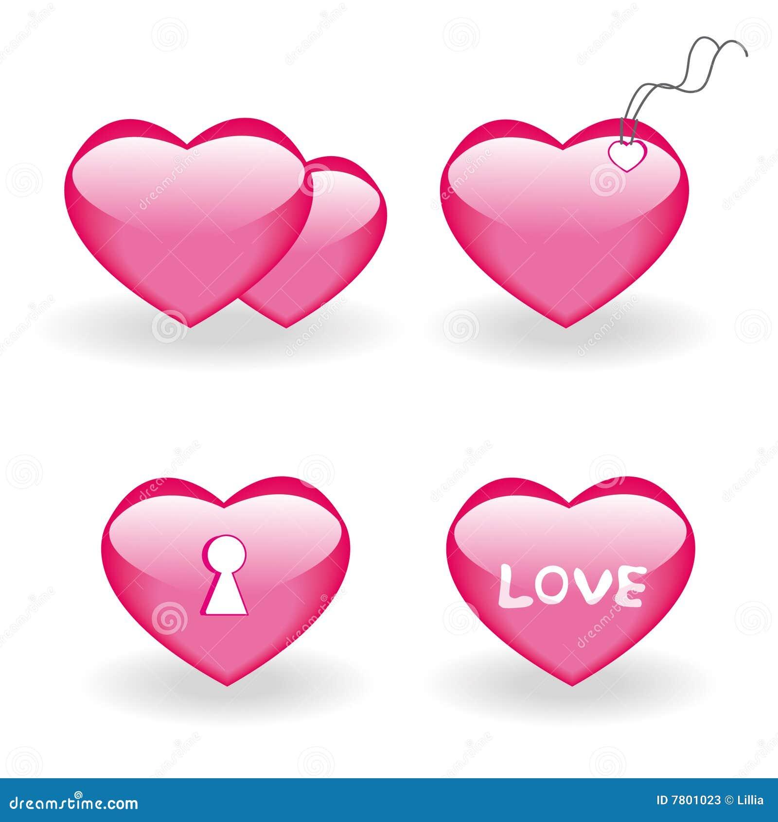 Ensemble de quatre graphismes avec des coeurs