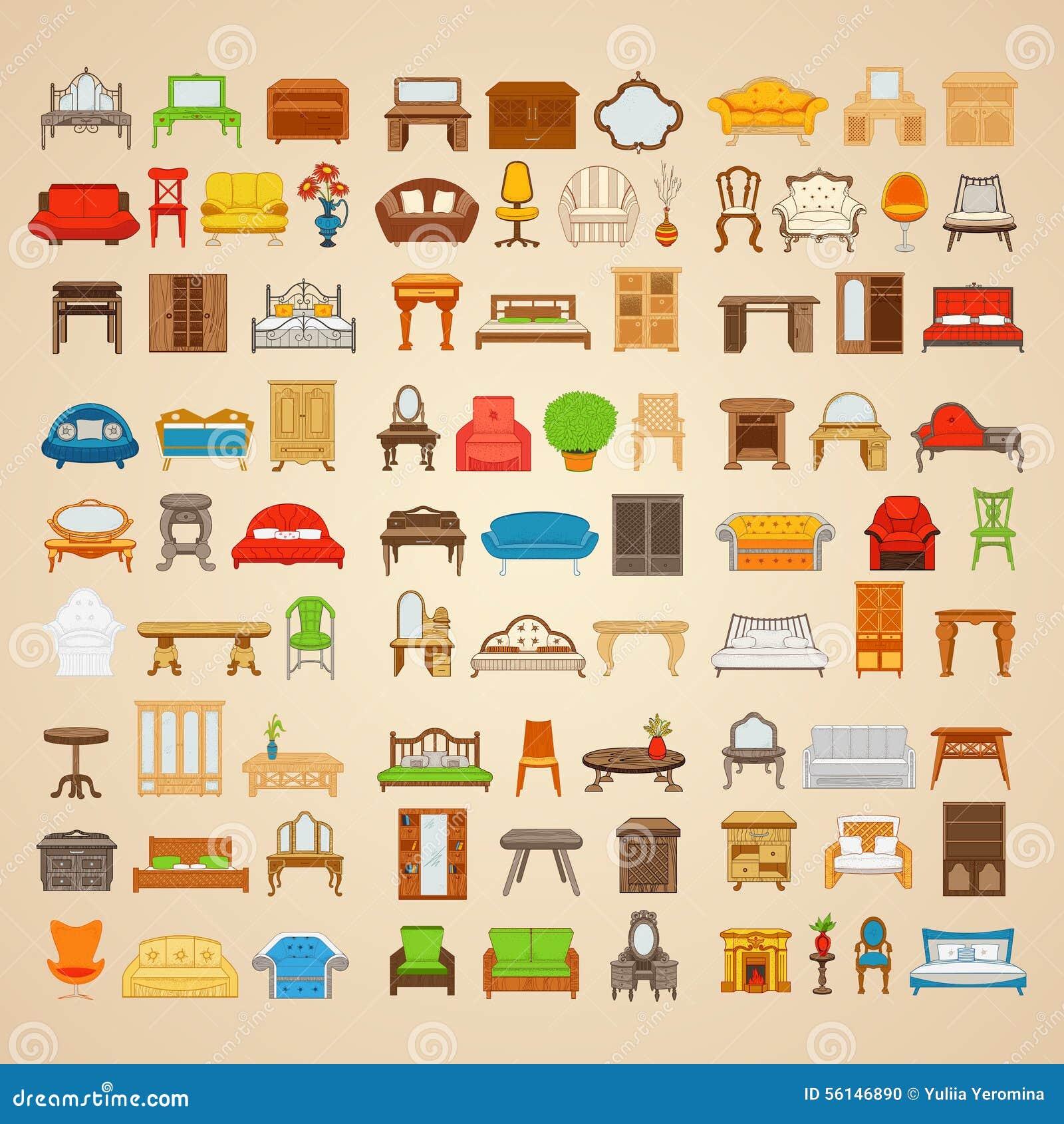 Ensemble De Quatre Vingt Six Meubles D Illustrations Pour La  # Les Meubles Pour La Maison