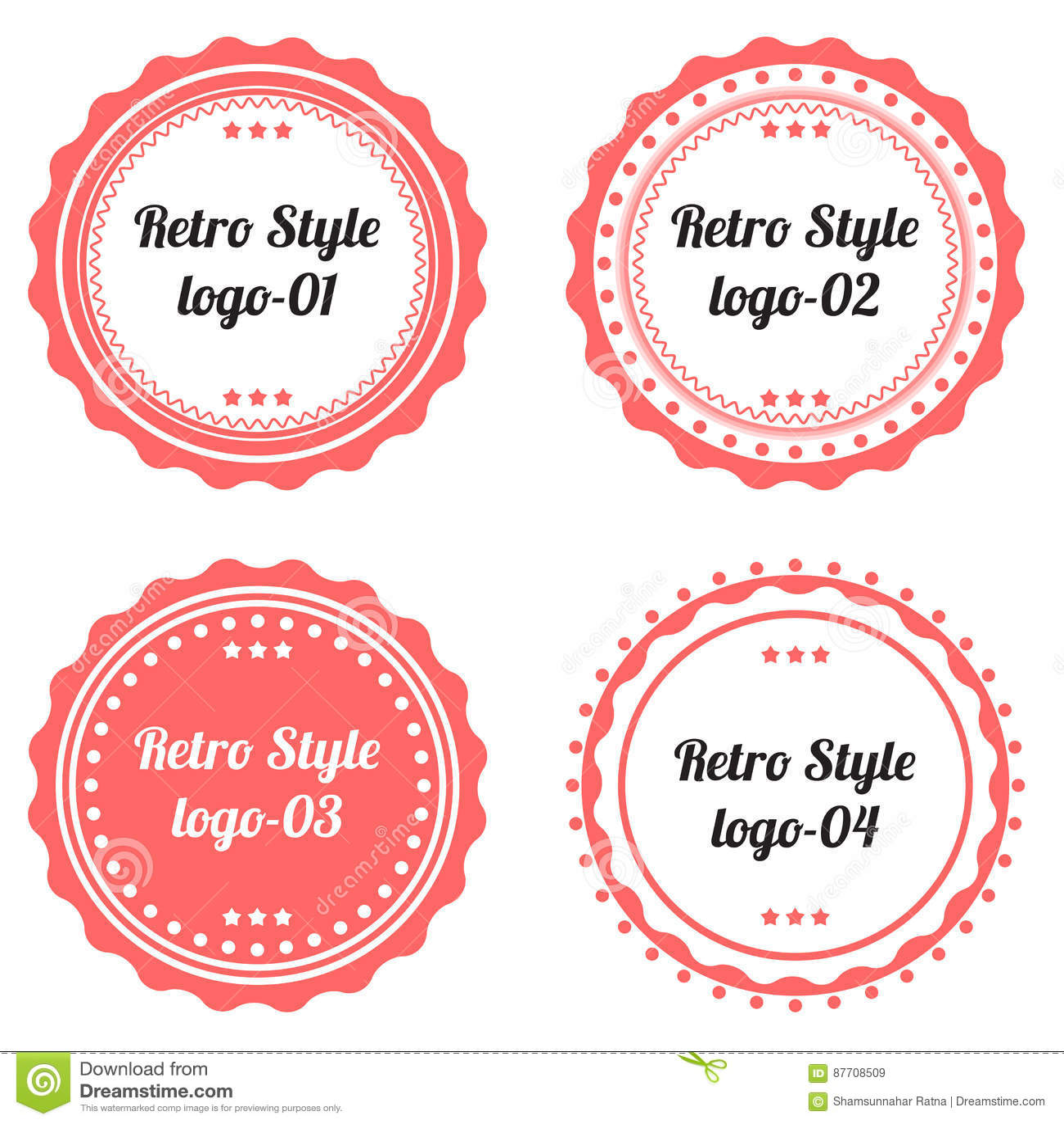 Ensemble de rétro forme de logo de labels
