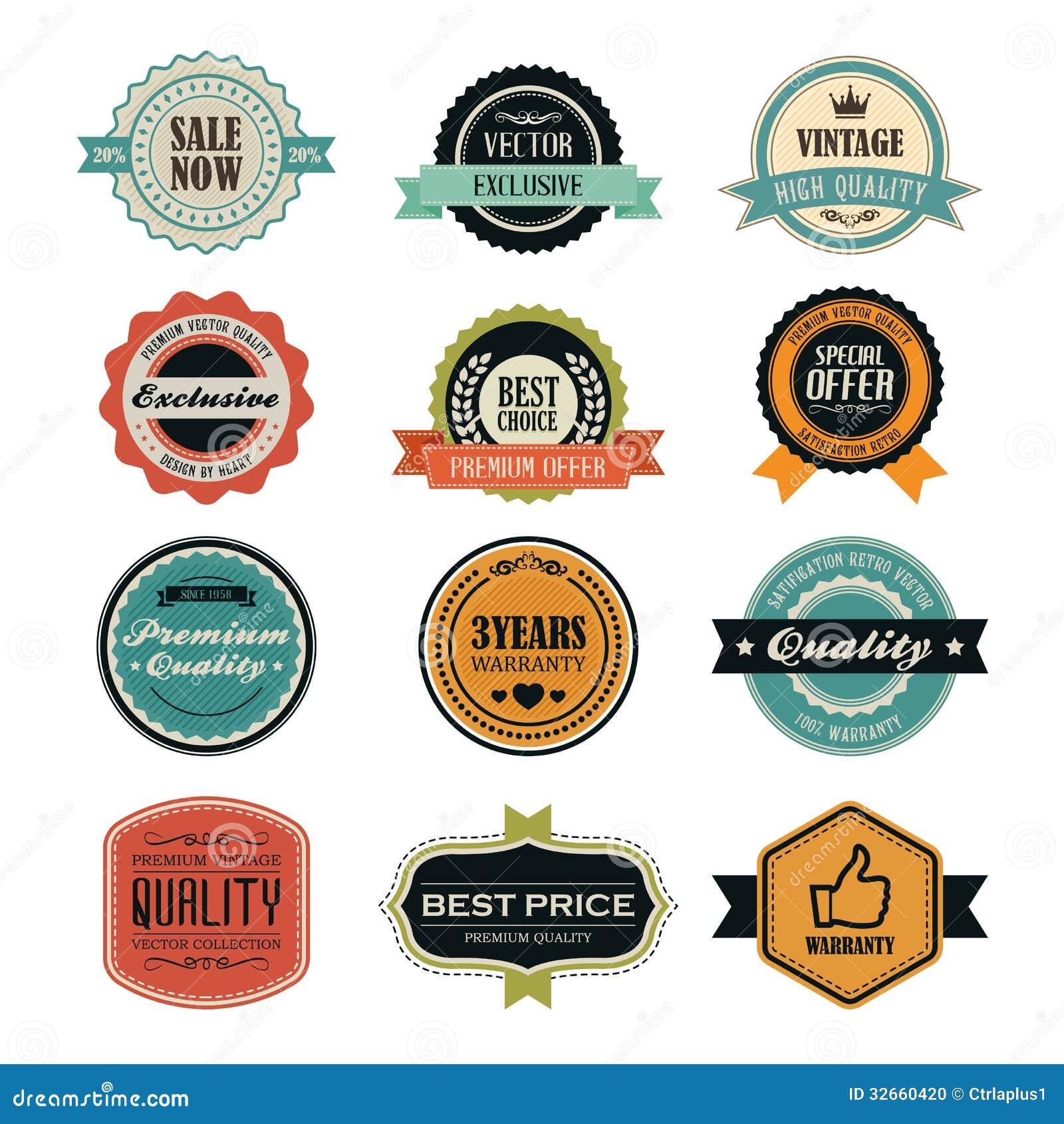 Ensemble de rétros insignes et de labels de vintage