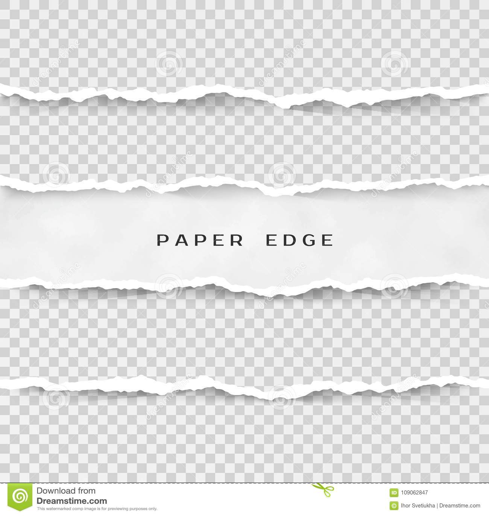 Ensemble de rayures de papier déchirées Texture de papier avec le bord endommagé d isolement sur le fond transparent Illustration