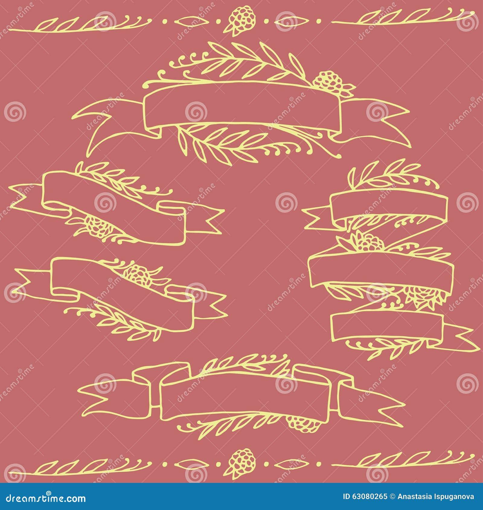 Download Ensemble De Rubans Floraux Fleuris De Griffonnage Illustration Stock - Illustration du plaquette, griffonnage: 63080265