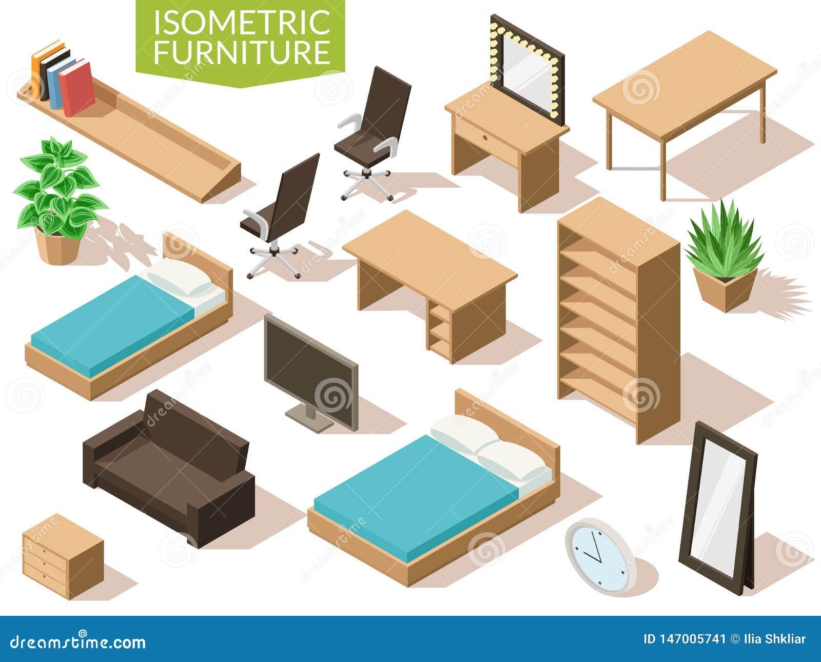 Ensemble de salon isométrique de meubles Meubles isométriques de salon dans la gamme brun clair avec la table de chaise de bureau