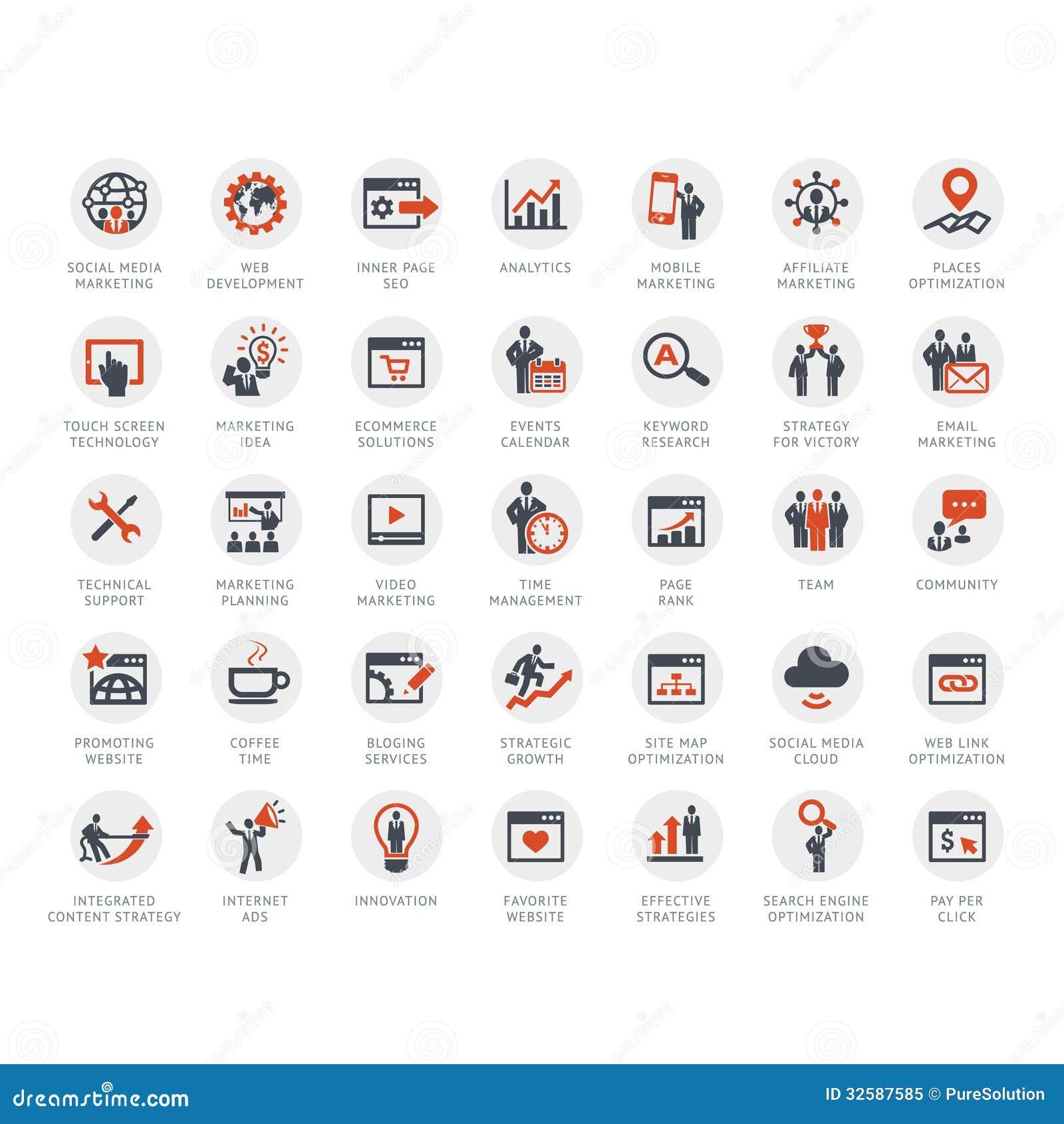 Ensemble de SEO et d icônes de vente