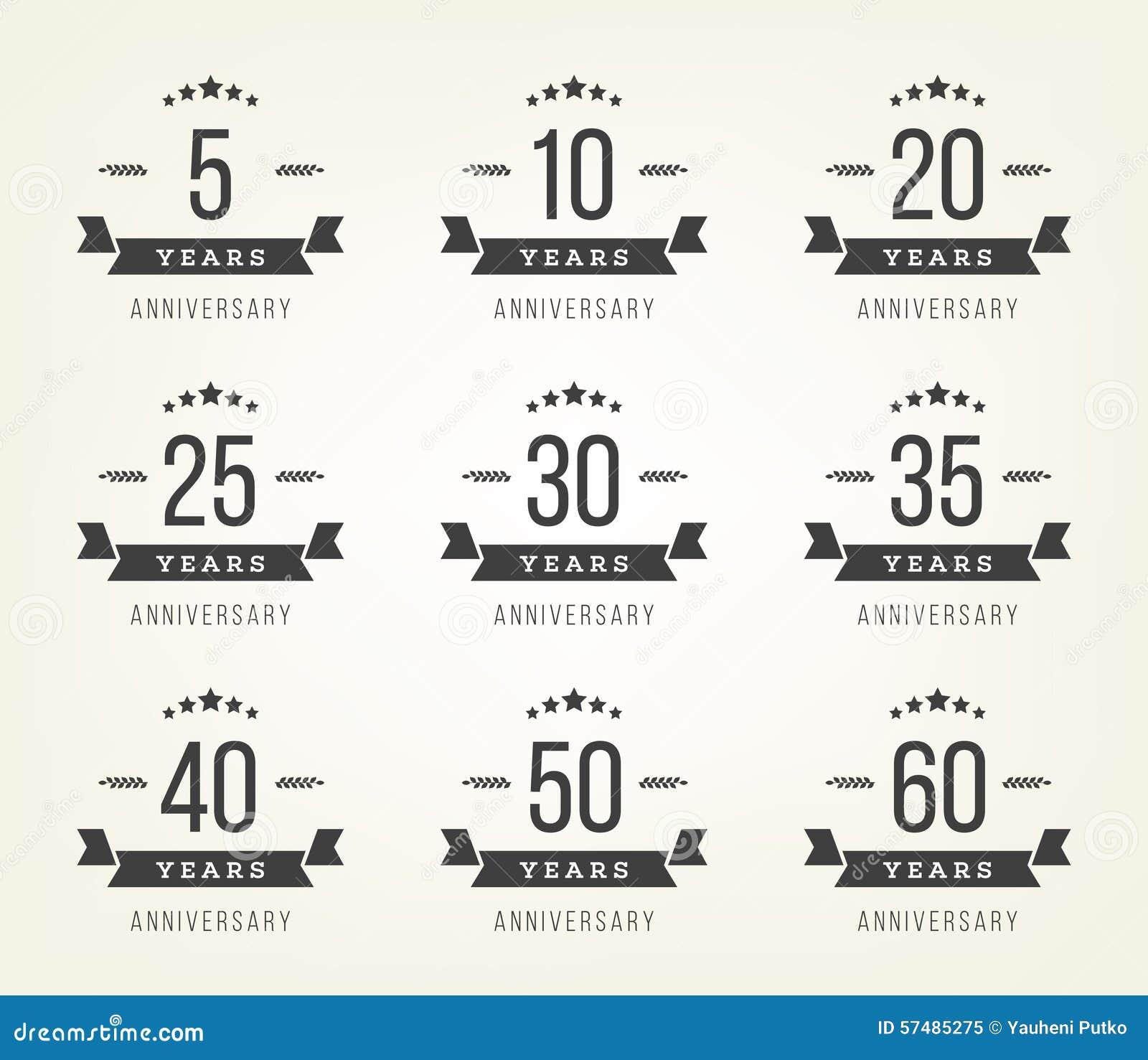 Ensemble de signes d anniversaire, symboles Cinq, dix, vingt, trente, quarante, cinquante ans de jubilé de conception de collecti