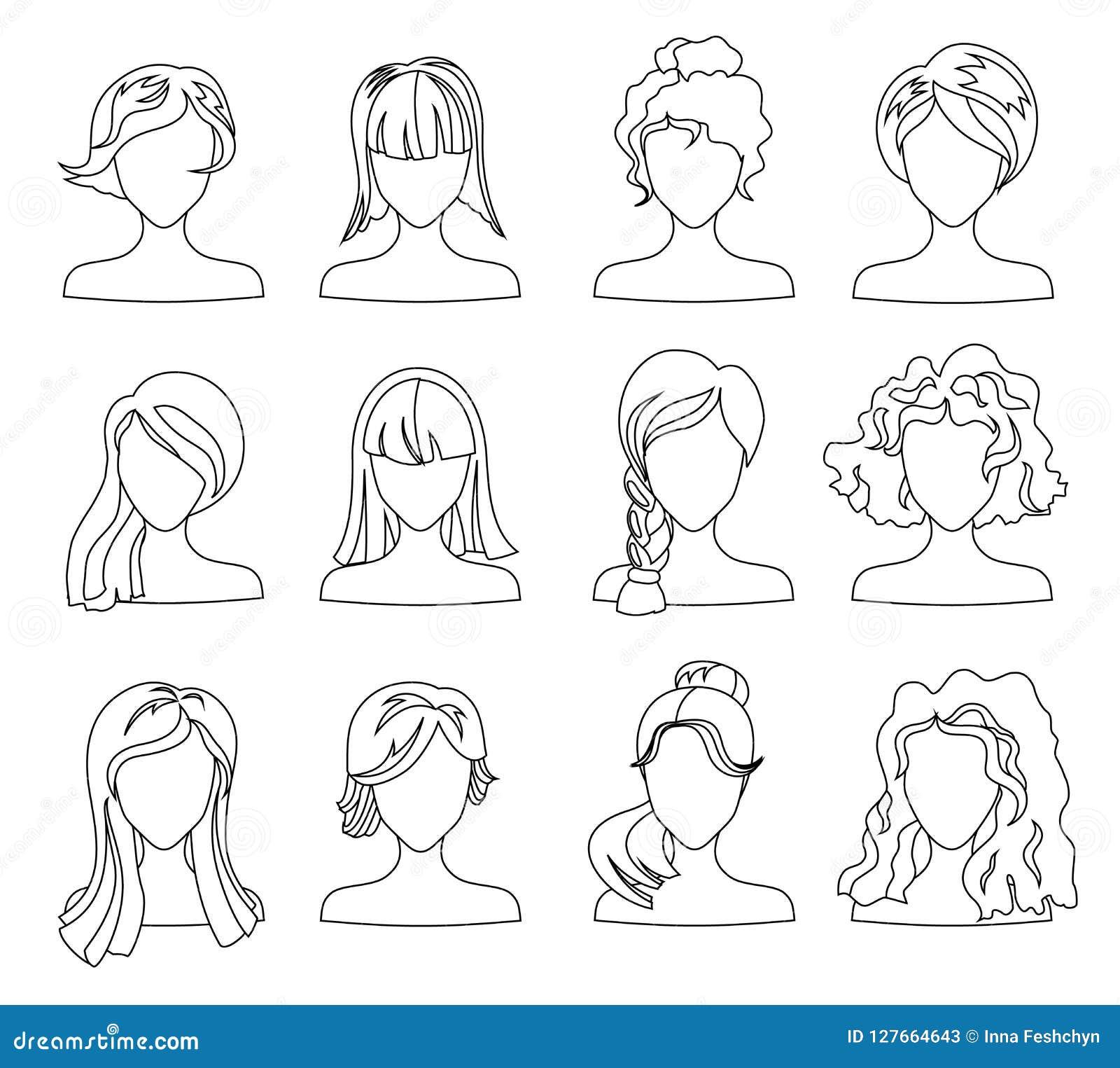Ensemble De Silhouette De Coiffure Femme Fille Cheveux Femelles