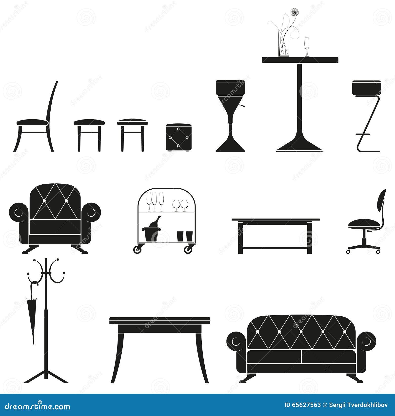 Ensemble de silhouette de meubles