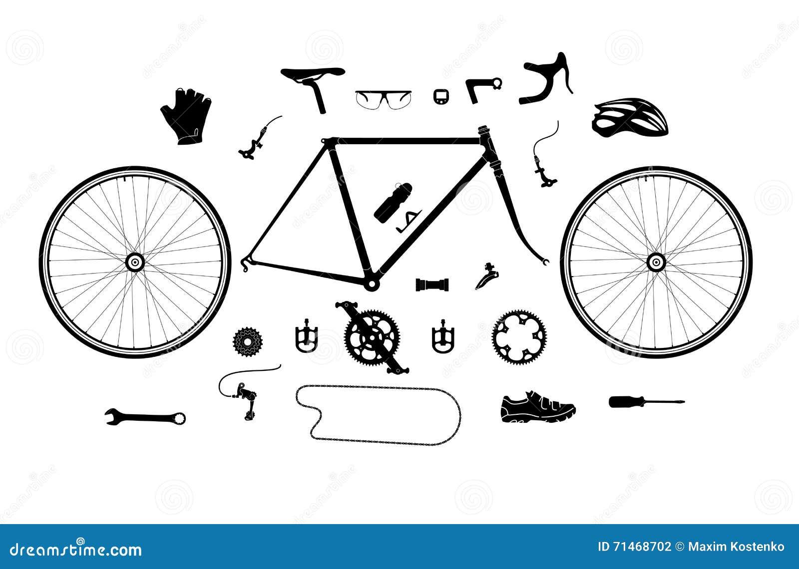 Ensemble de silhouette de pièces et d accessoires de bicyclette de route, éléments pour infographic, etc.