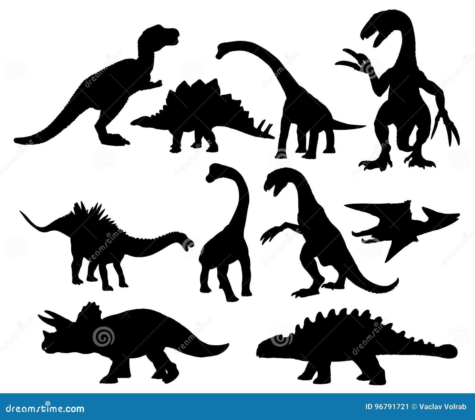 Ensemble de silhouettes de dinosaures