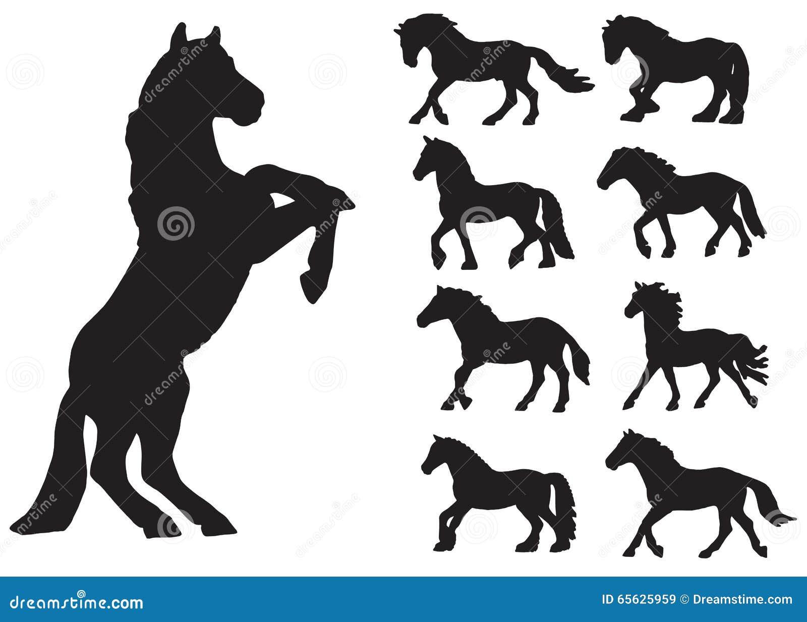 Ensemble de silhouettes des chevaux