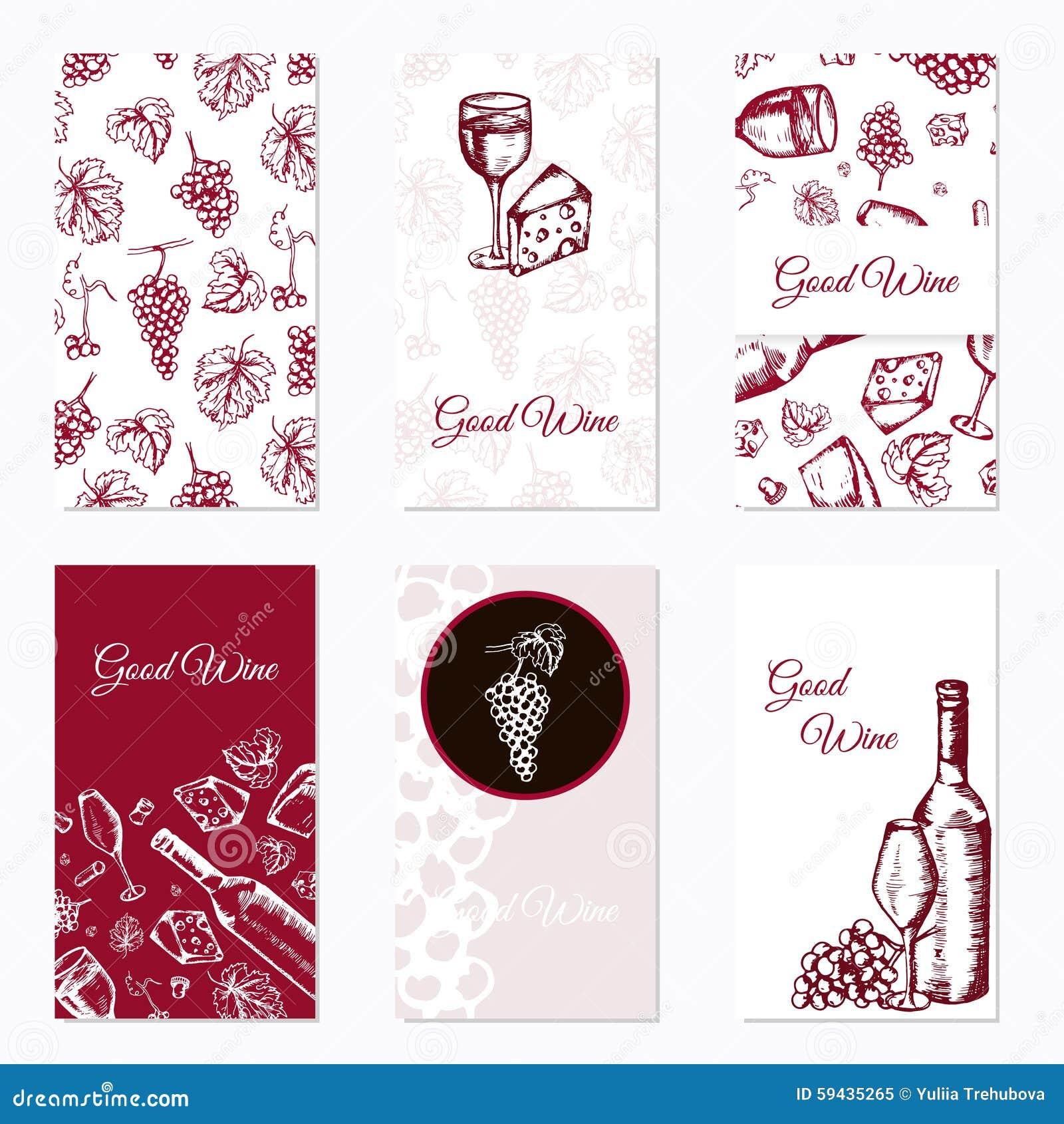 Ensemble De Six Cartes Visite Professionnelle Socit Vin Thme Restaurant Illustration