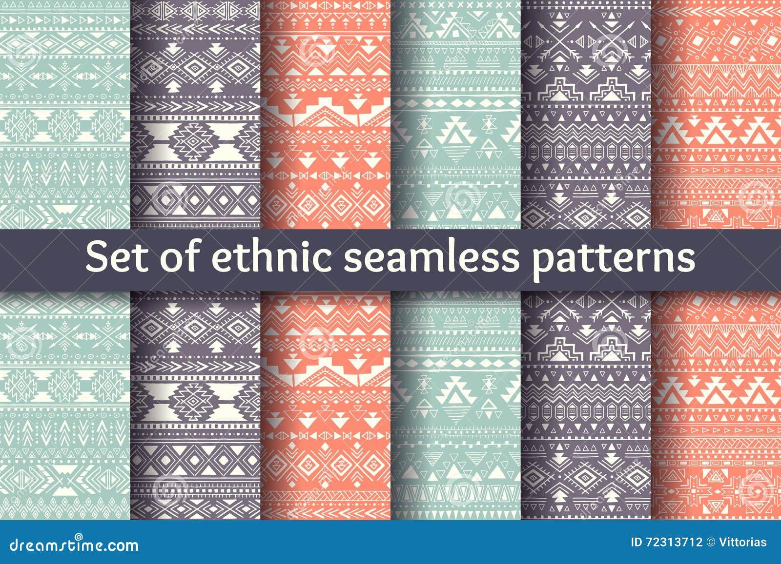 Ensemble de six modèles sans couture ethniques