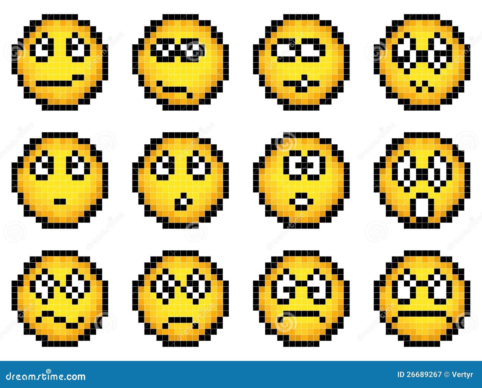 Ensemble De Smiley Jaune Simple De Pixel De Vecteur