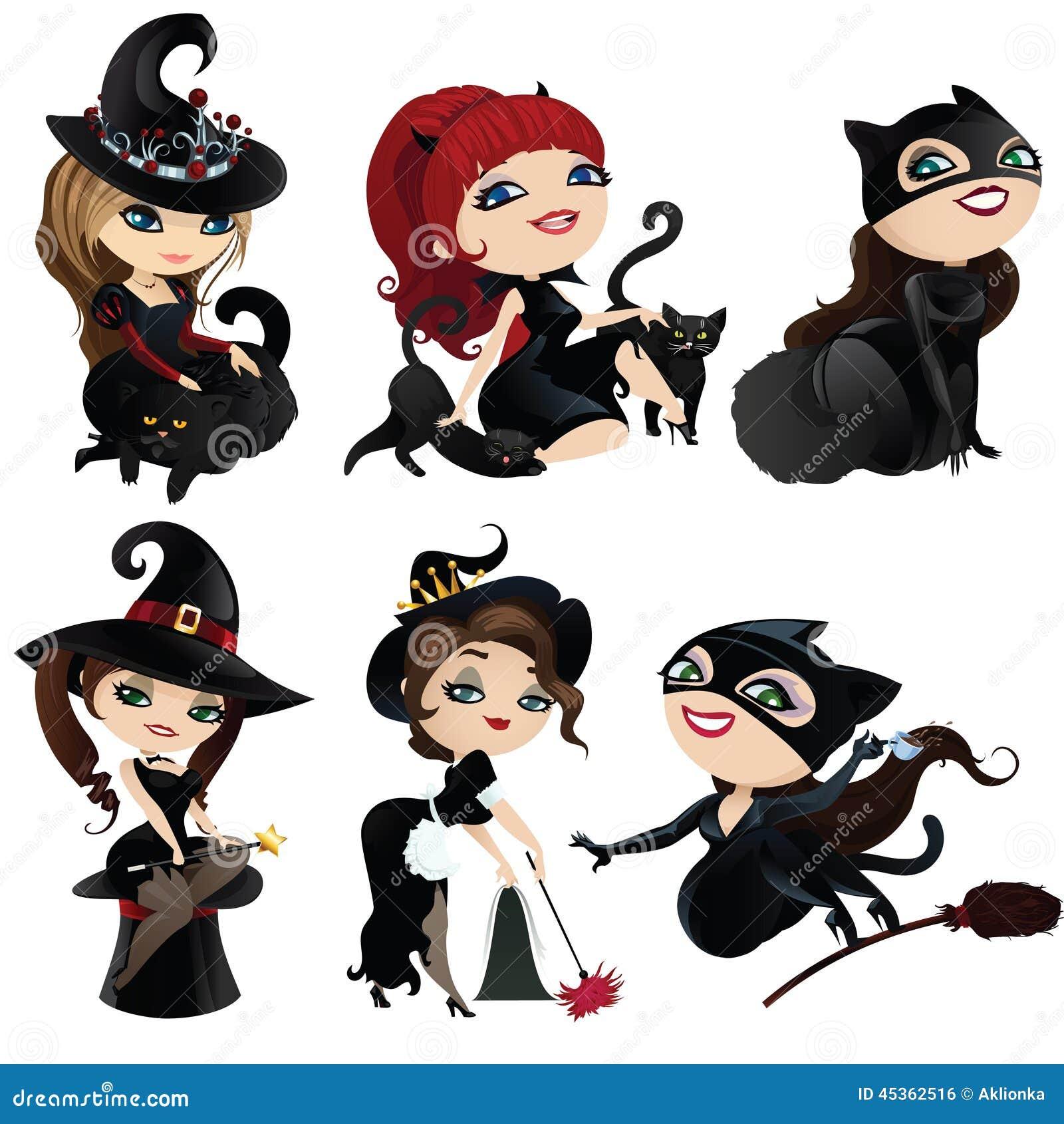 Ensemble de sorcières et de chats avec du charme