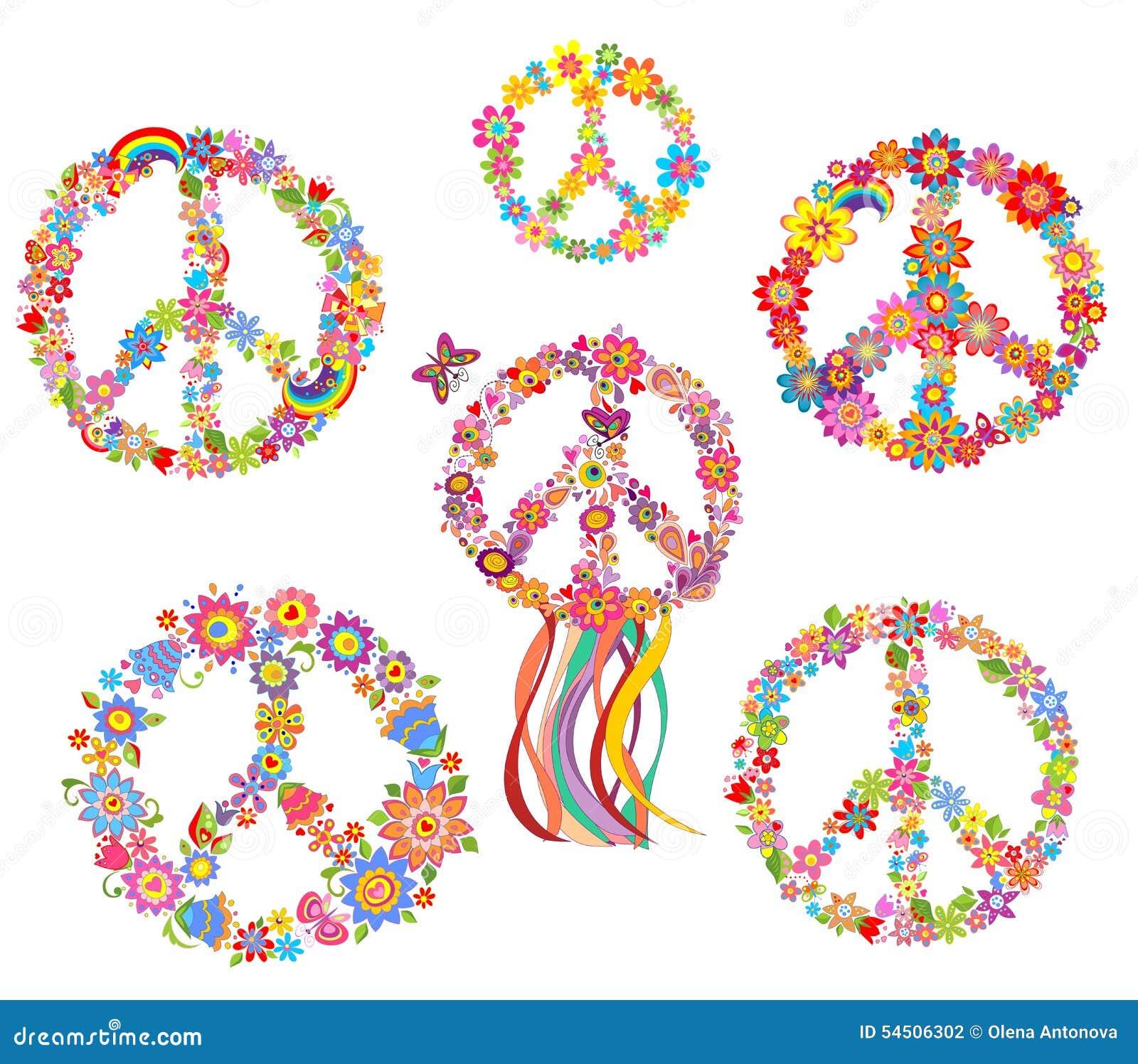 Ensemble de symbole de fleur de paix