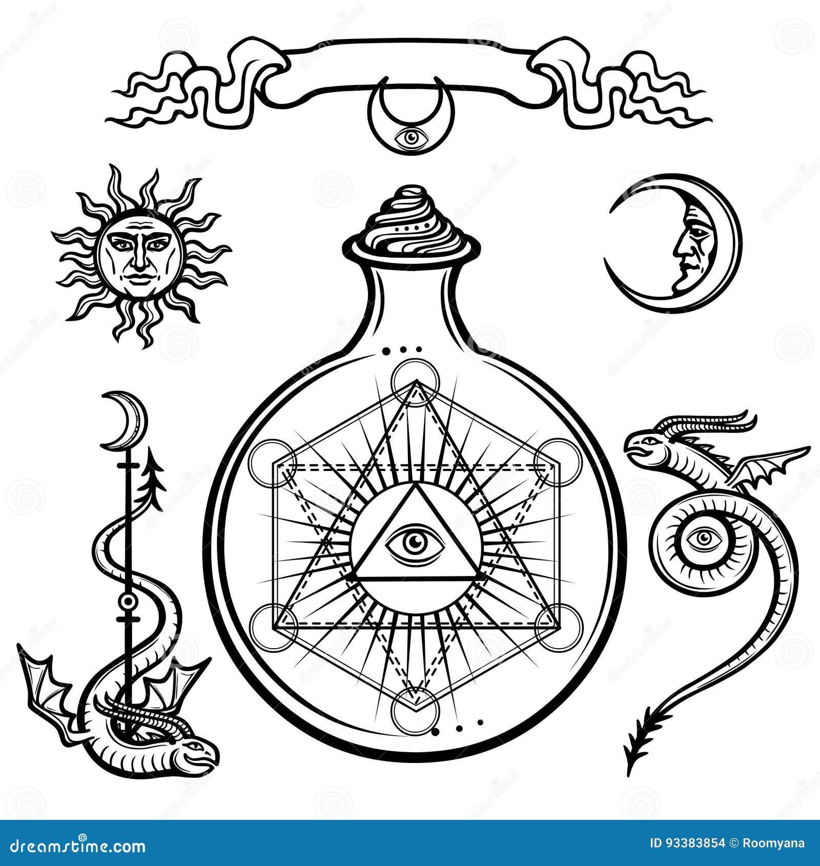 Ensemble de symboles alchimiques Un oeil de providence dans un flacon, réaction chimique La géométrie sacrée