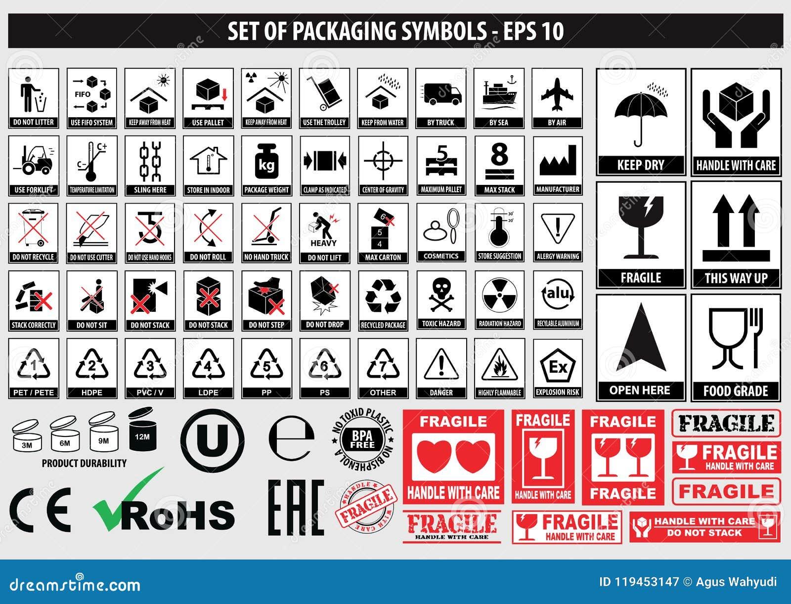 Ensemble de symboles d emballage, FCC, ROHS, vaisselle, plastique, symboles fragiles, symboles de carton