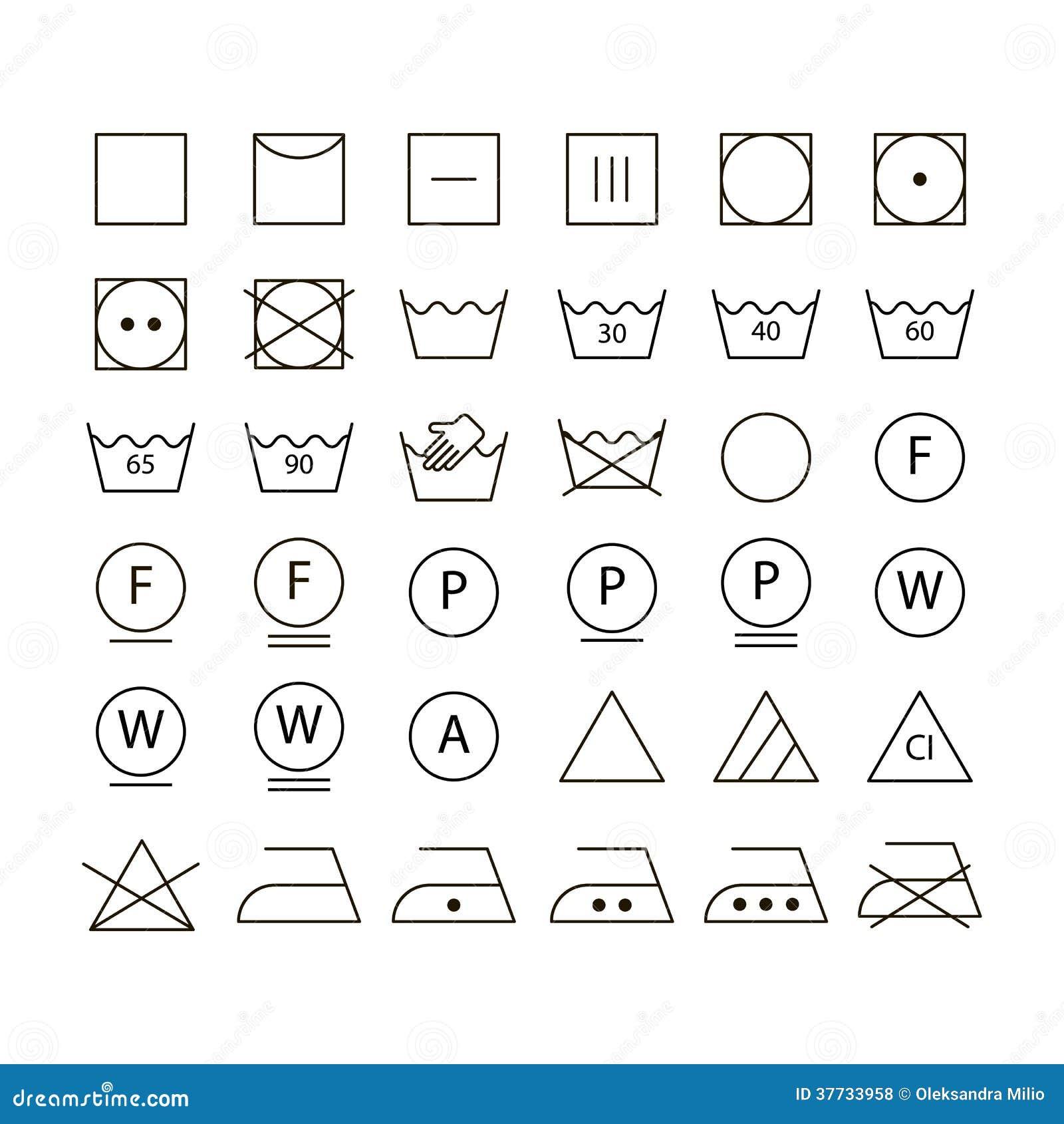 ensemble de symboles de lavage illustration de vecteur image 37733958. Black Bedroom Furniture Sets. Home Design Ideas