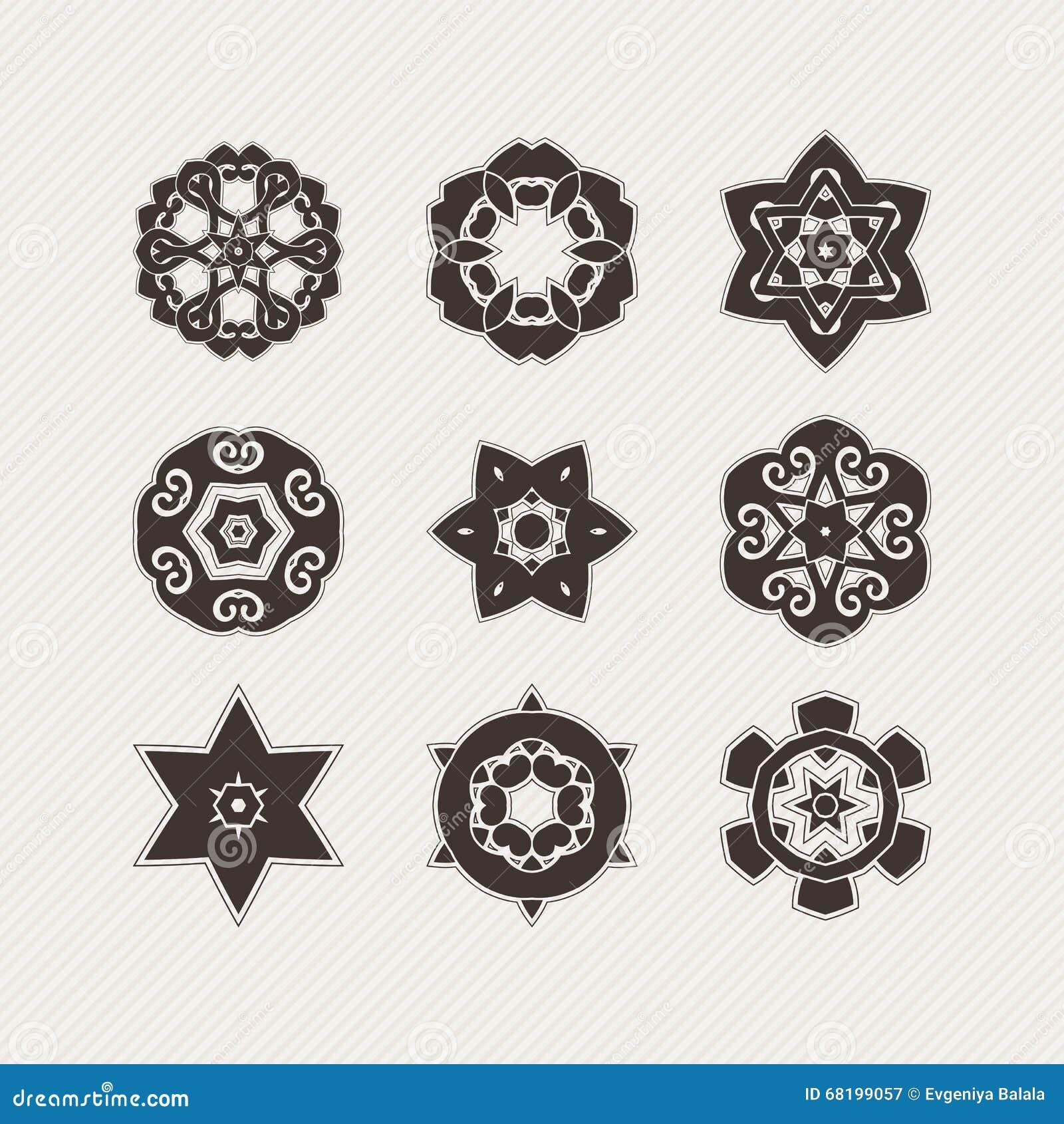 Ensemble De Symboles Fleuris De Mandala De Vecteur Tatouage Gothique