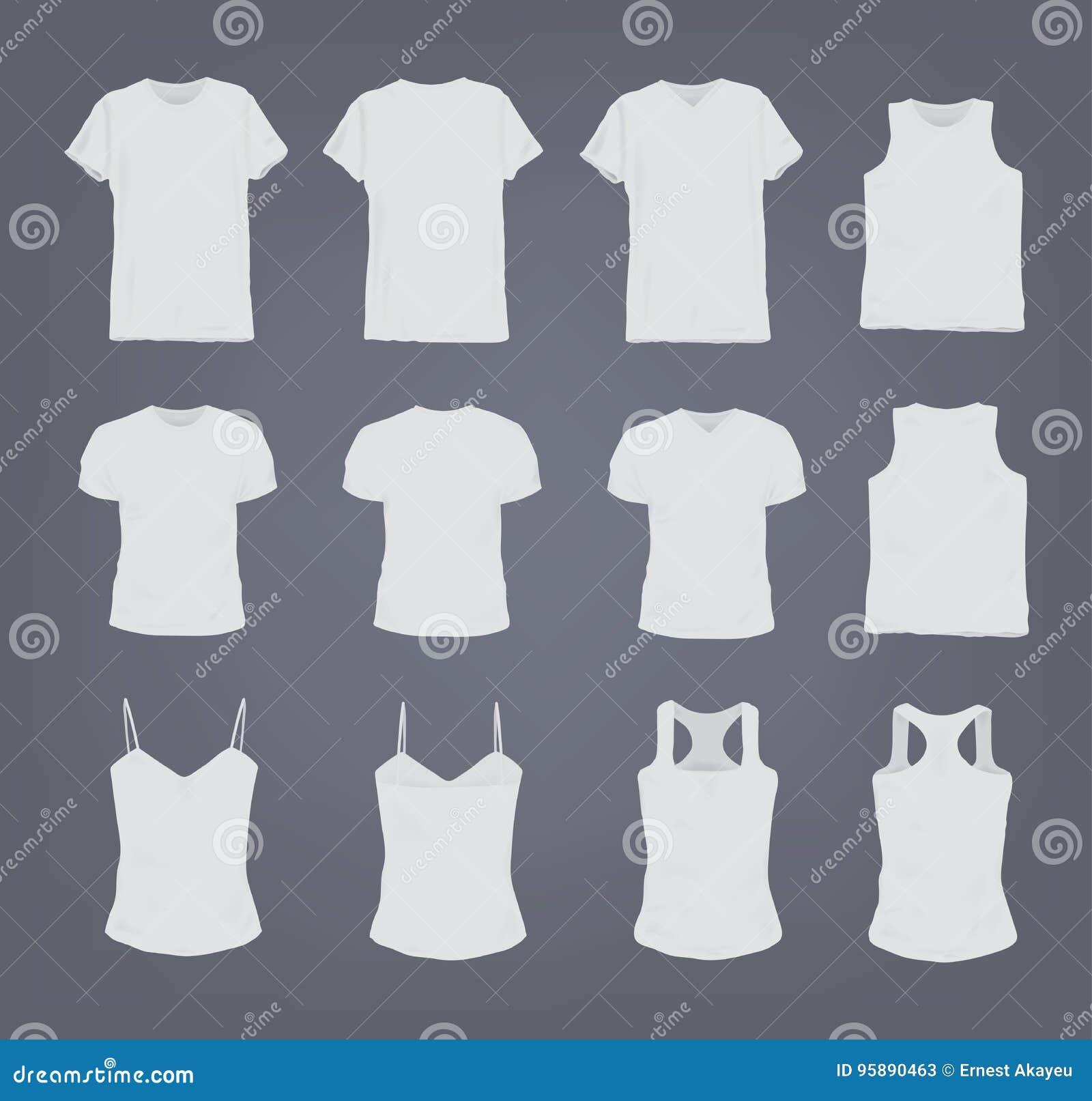 Ensemble de T-shirt femelle et masculin blanc réaliste différent Vue avant et arrière Chemise sans manche, court-douille, singule