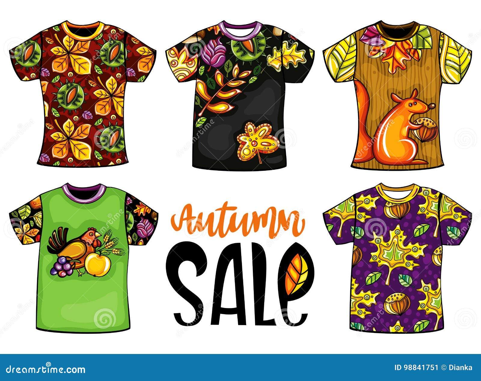 Ensemble de T-shirts de calibres d automne de vecteur