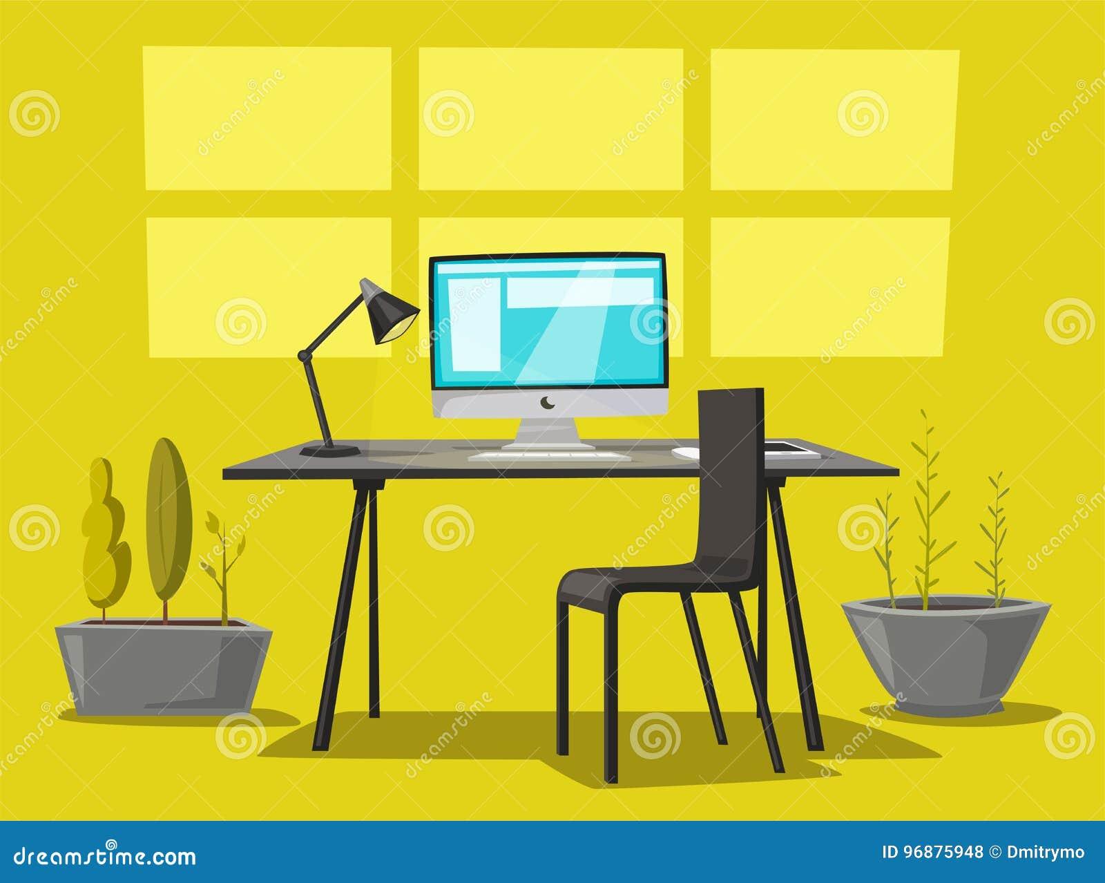 Ensemble de tables de bureau illustration de vecteur de dessin