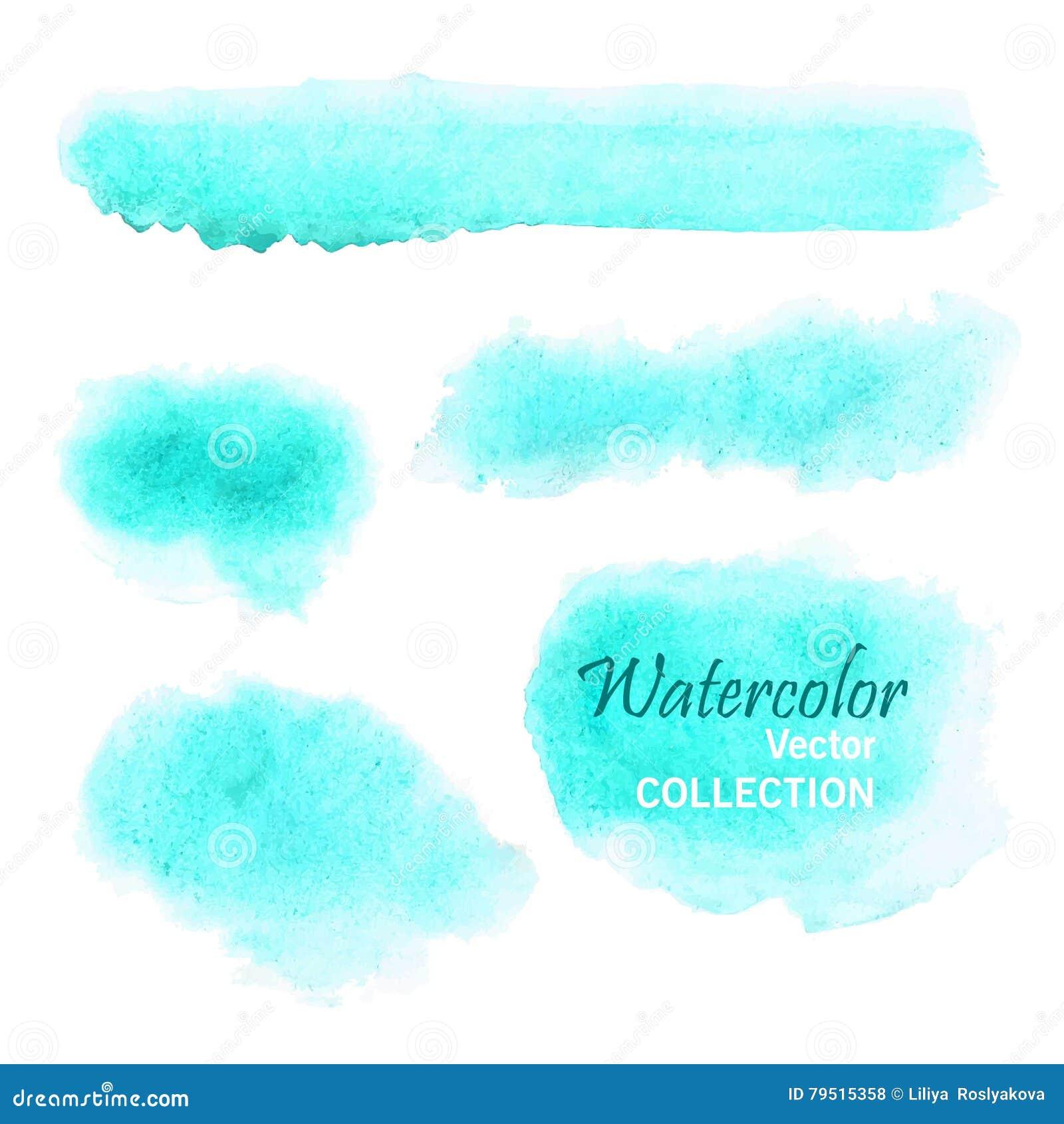 Ensemble de taches lisses d aquarelle dans des couleurs en pastel douces - bleu, turquoise, aigue-marine